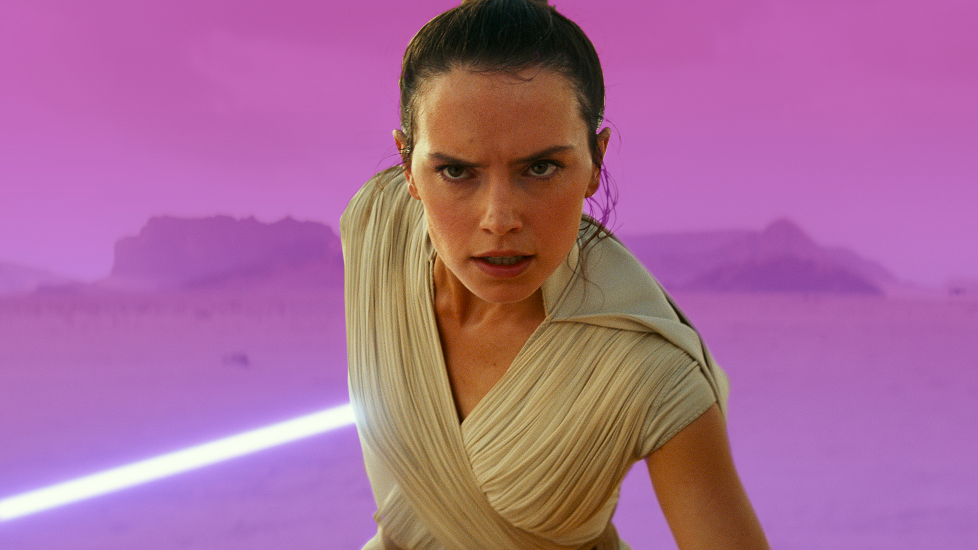 Graphic treatment of the character Rey from the film Star Wars: The Rise of Skywalker