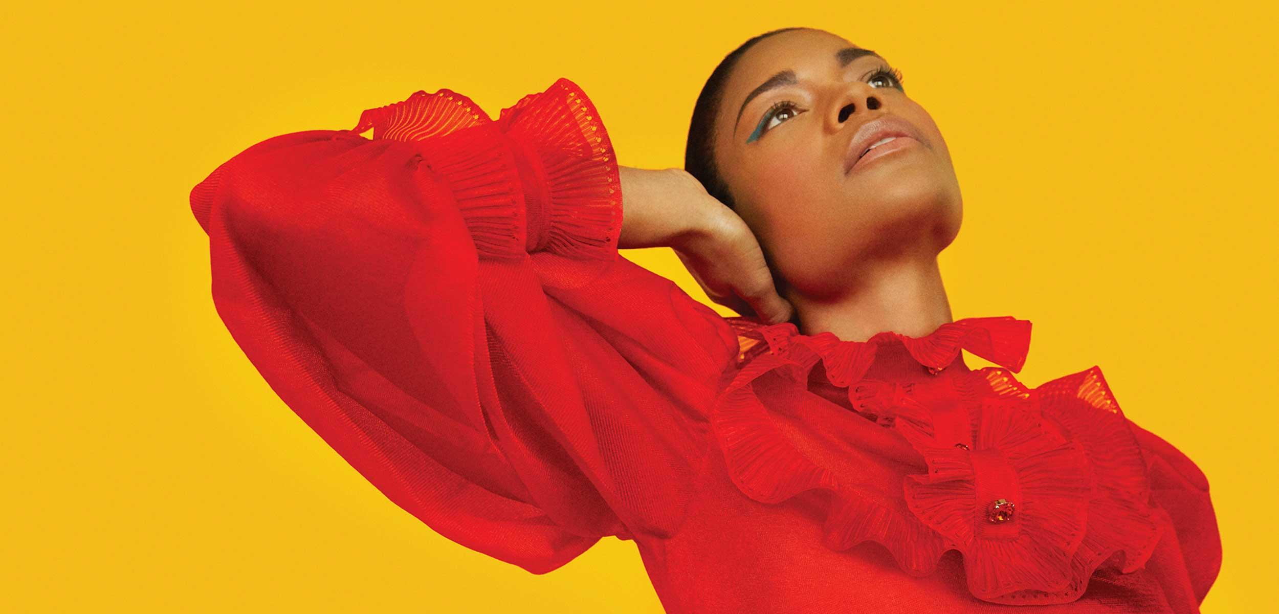 Naomie Harris in a red dress