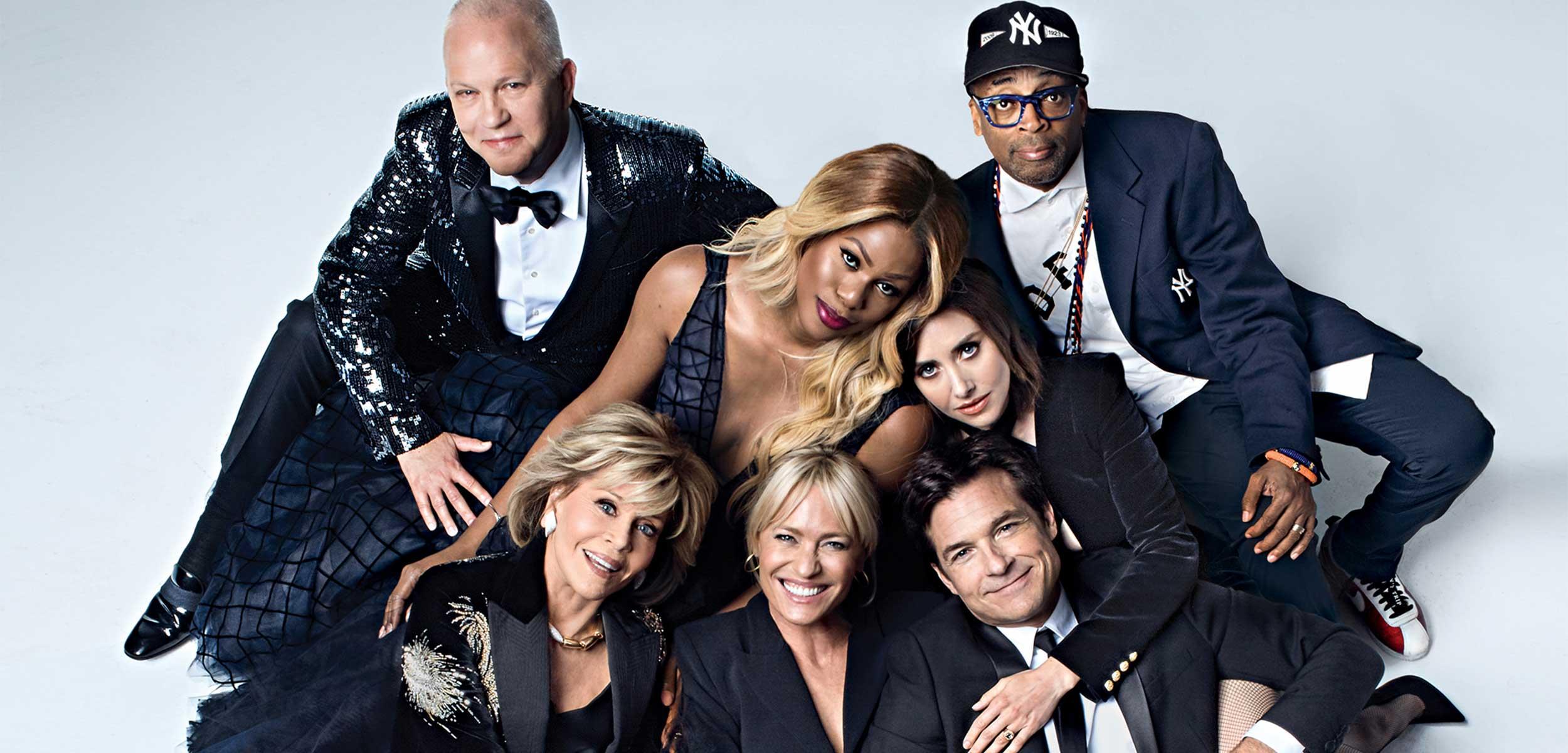 Group portrait of Netflix stars including Ryan Murphy, Spike Lee, Jane Fonda, Robin Wright and others.