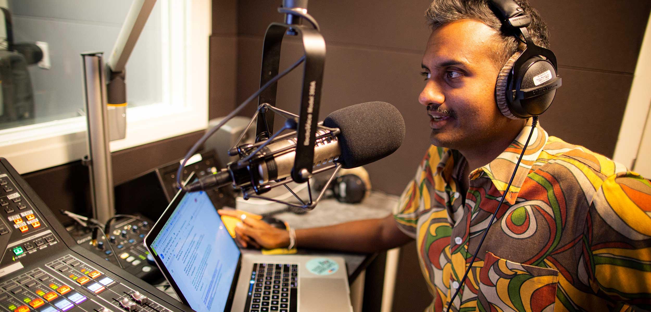Today Explained host Sean Rameswaram records podcast.