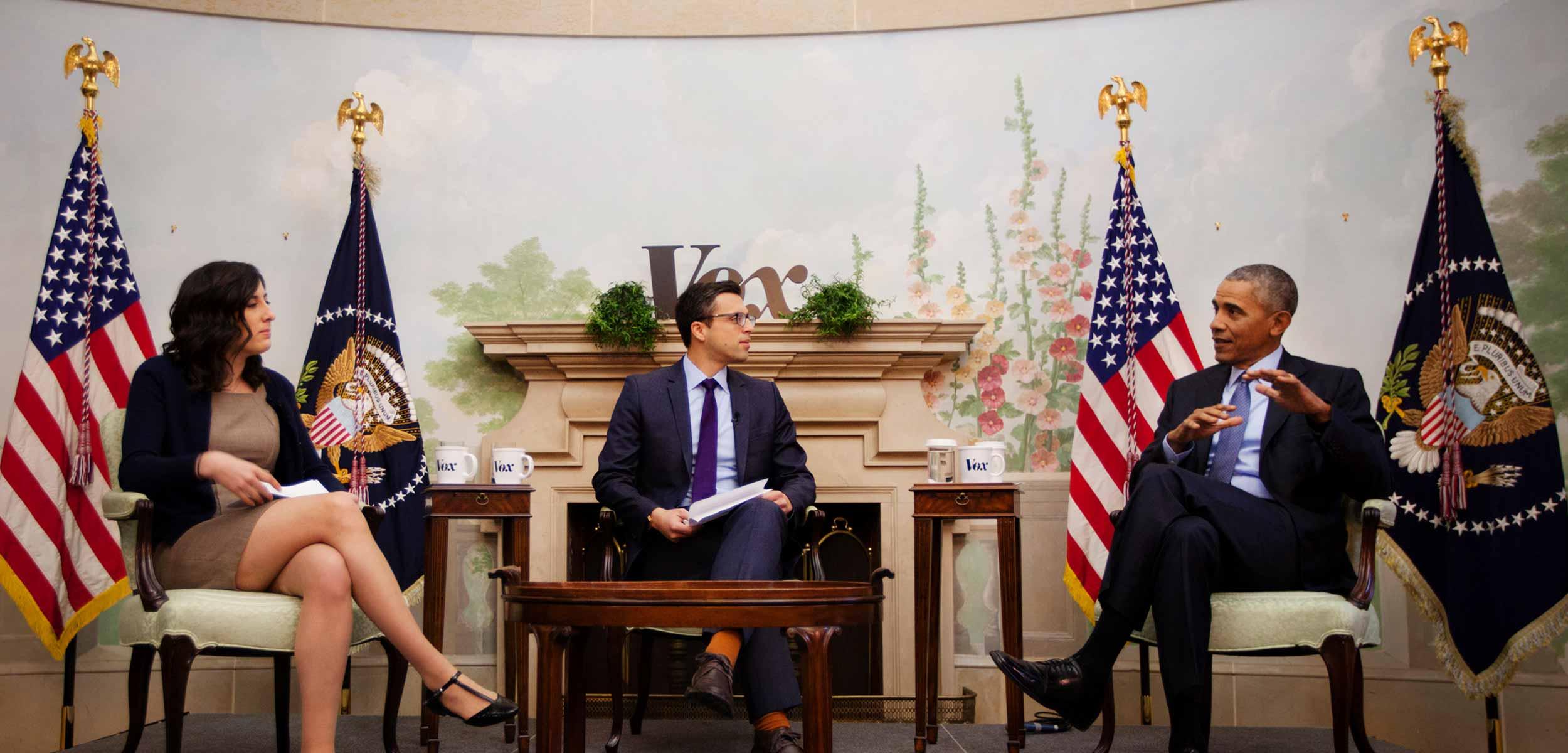 President Barack Obama with Vox's Sarah Kliff and Ezra Klein at White House 2017.