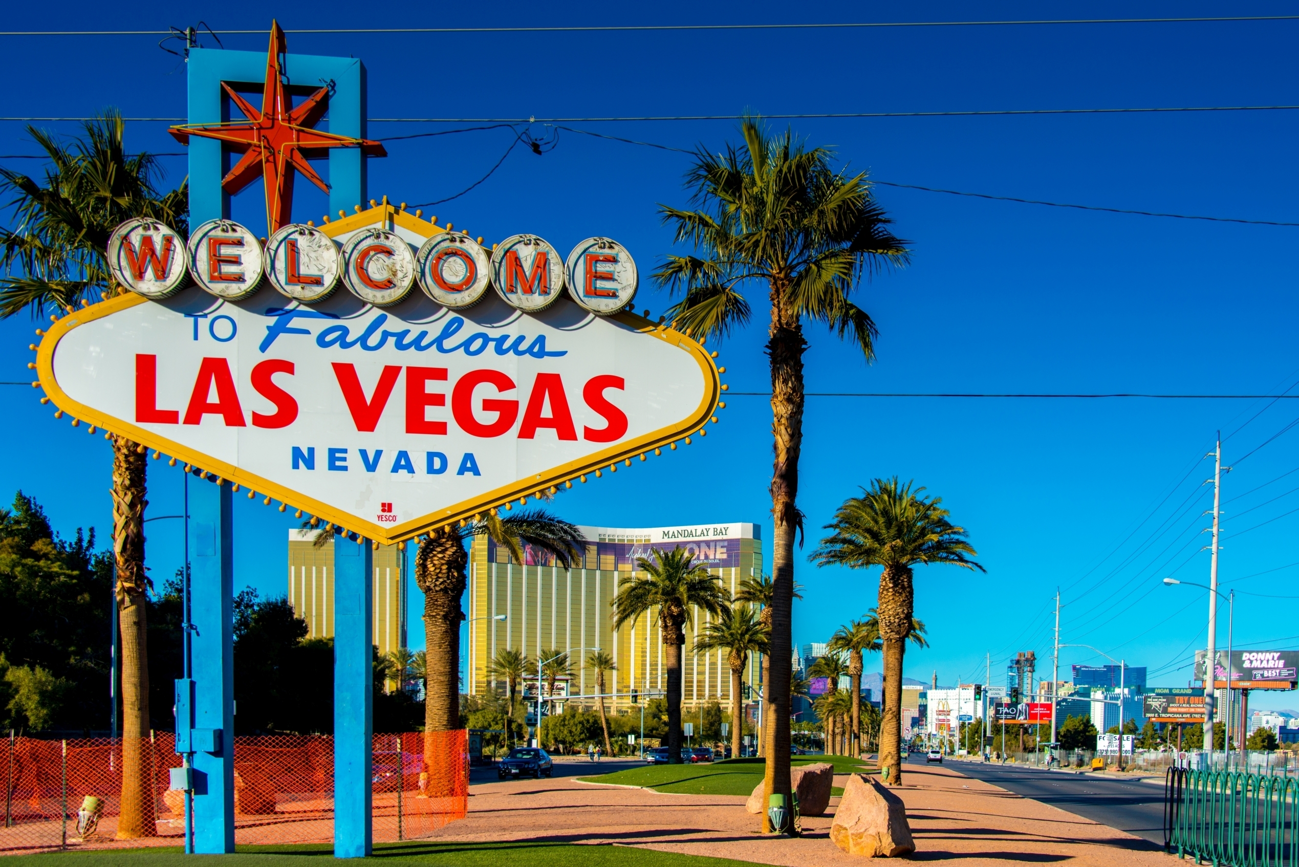 A view of the iconic Welcome to Las Vegas sign