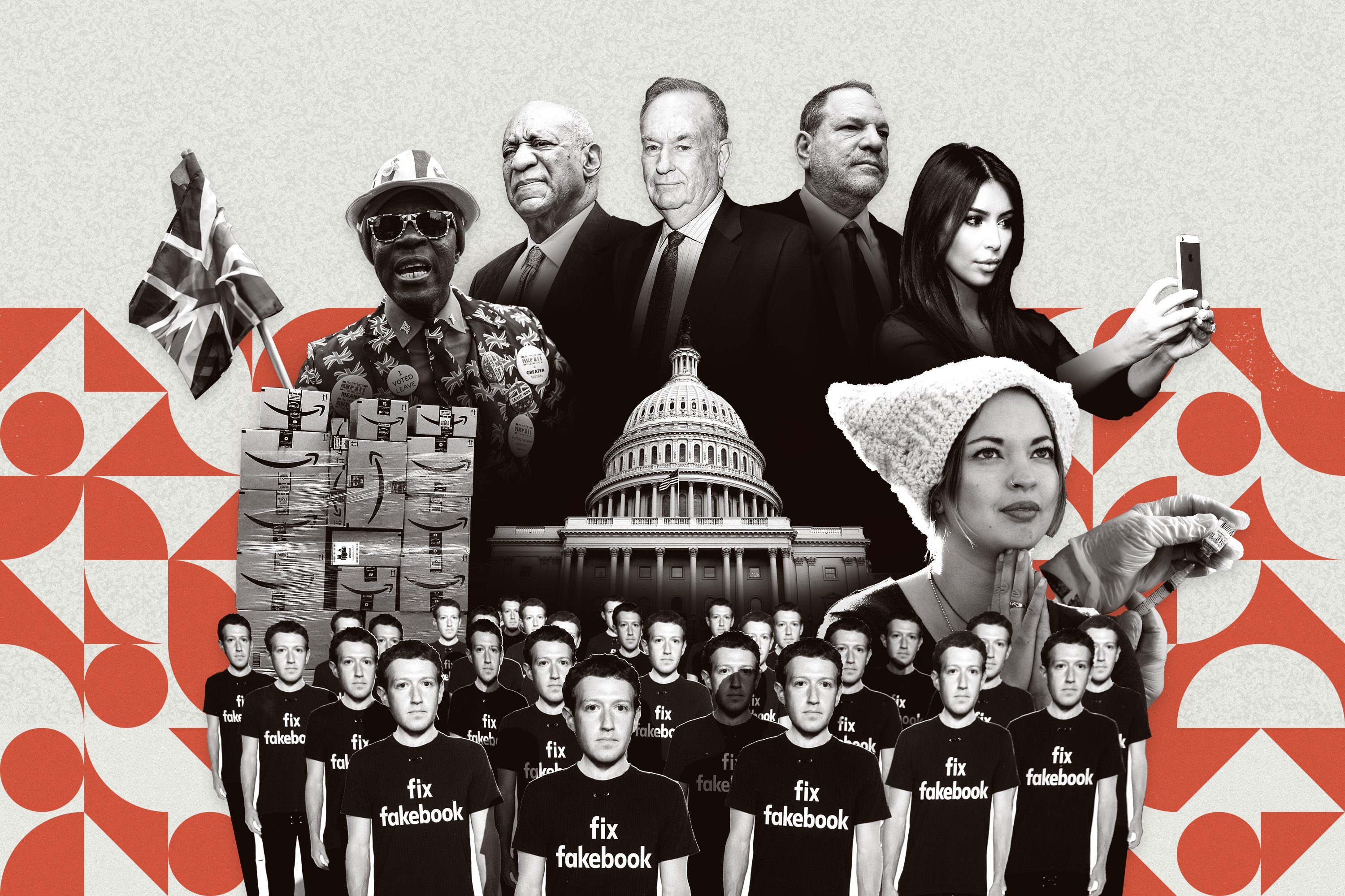 A collage of the White House, a Facebook protest, Amazon boxes, and other images from the 2010s.