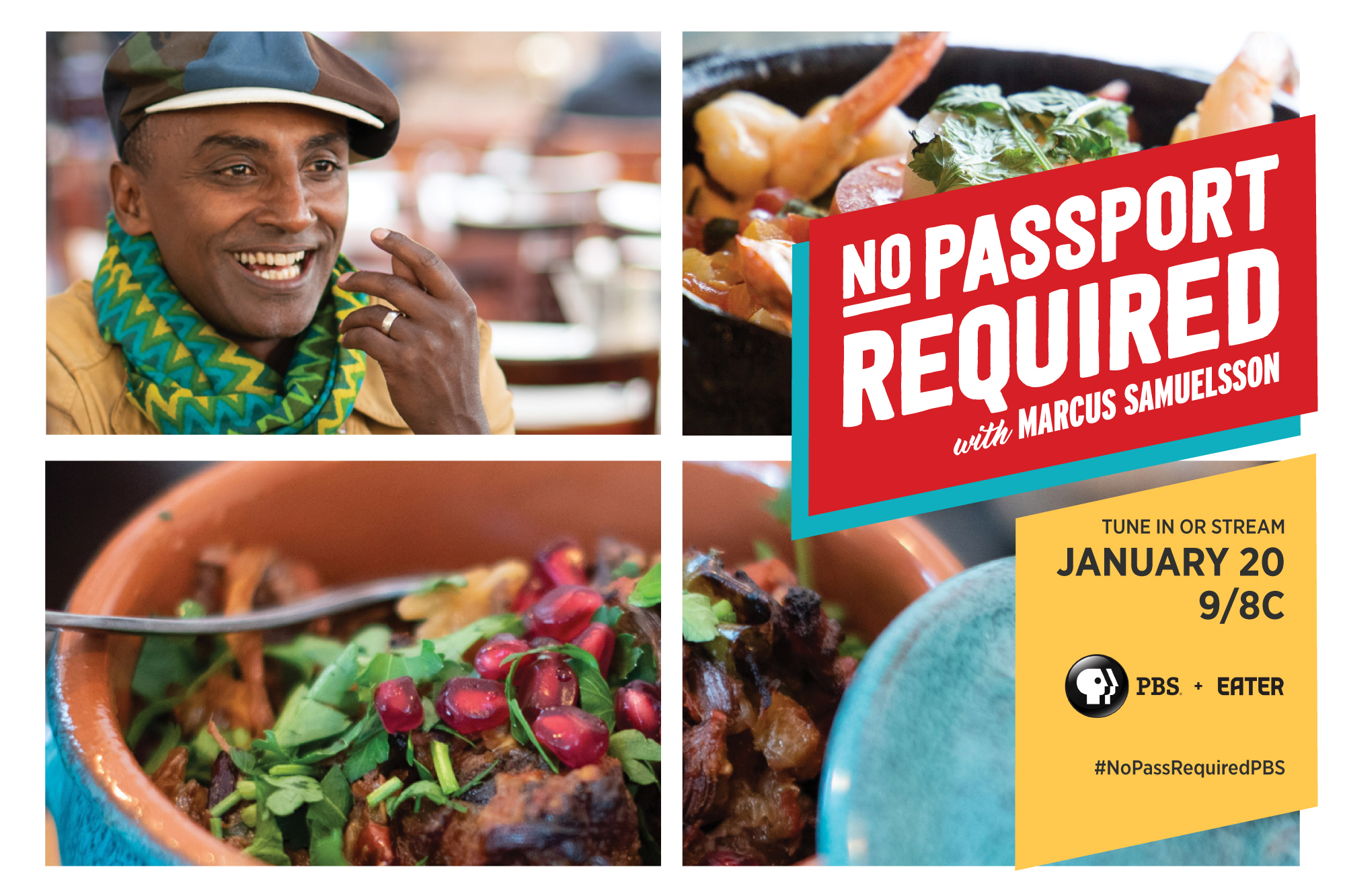 Key art from No Passport Required, showing host Marcus Samuelsson's face and some dishes from the show with the logo over them.