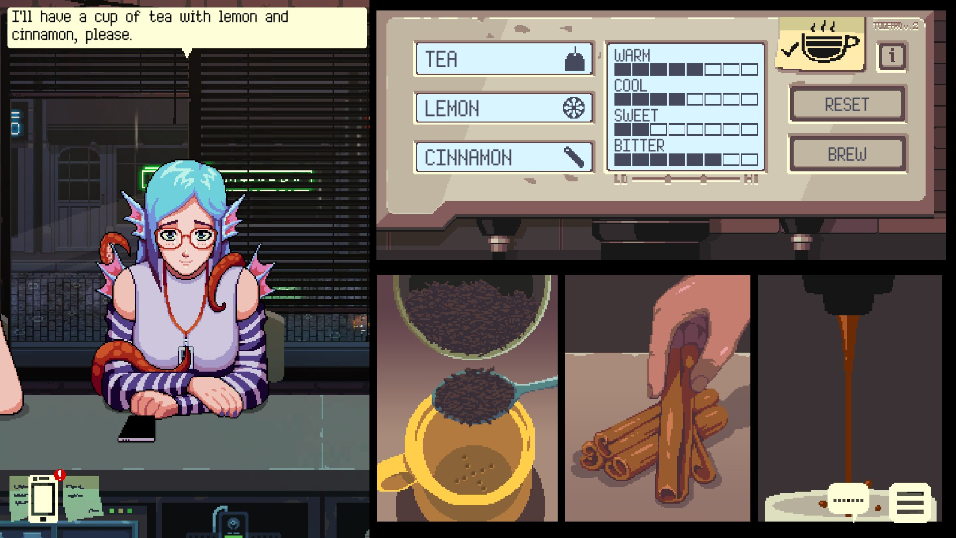 A chill coffeeshop game where you play therapist to vampires, cat girls, and succubi