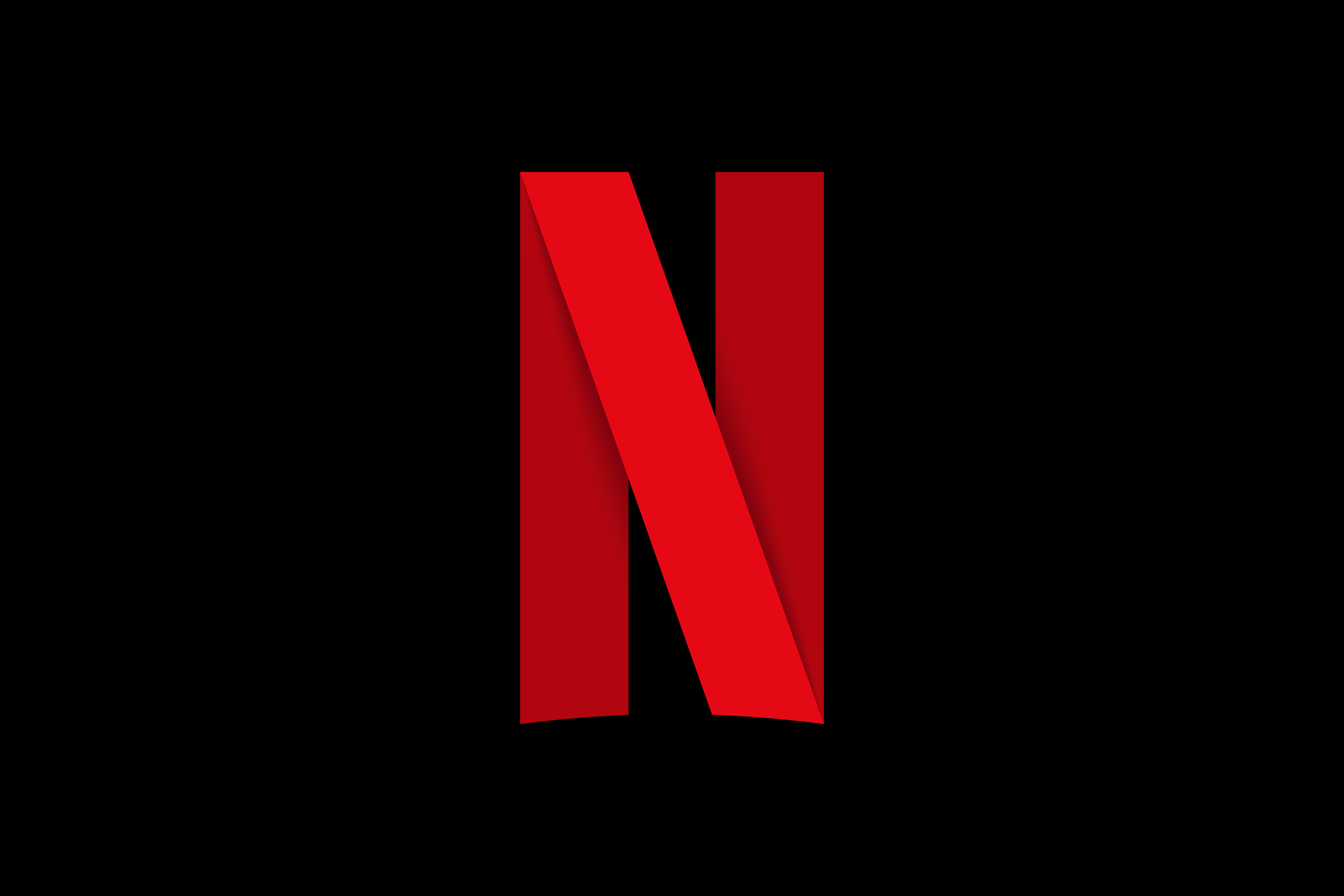 the Netflix logo, a big red N on a black background