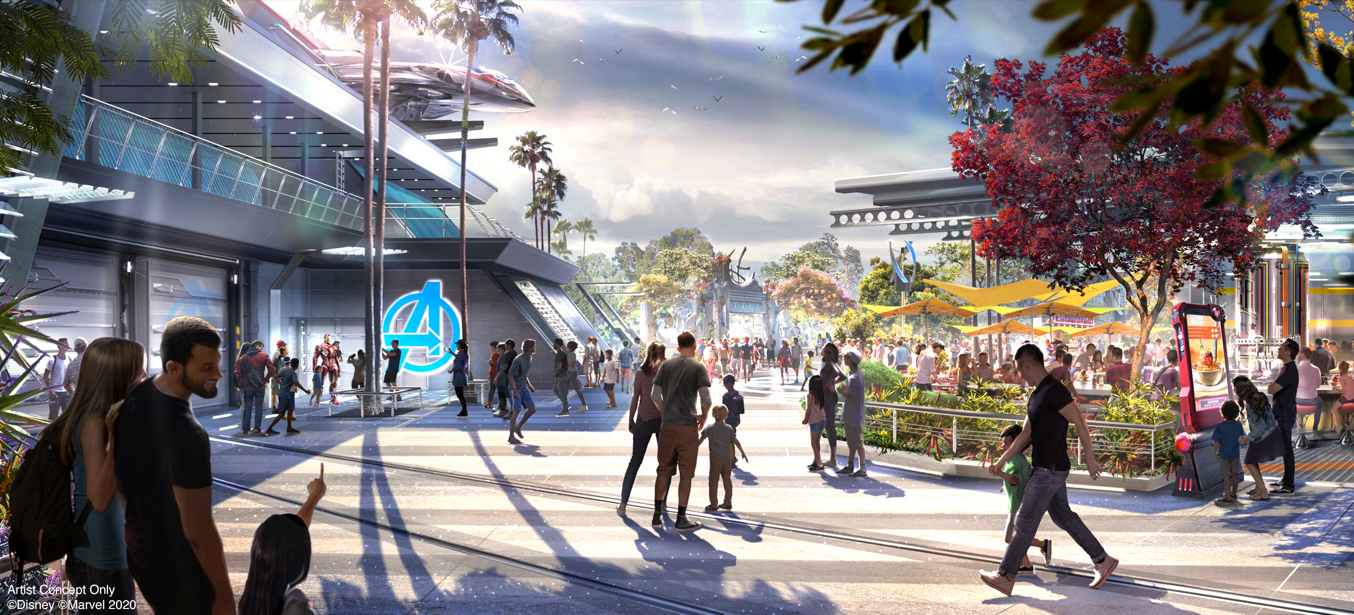 Avengers Campus is an entirely new land dedicated to discovering, recruiting and training the next generation of heroes, opening in summer 2020 at Disney California Adventure Park in Anaheim, California. To the right of the image, the outdoor seating area at Pym Test Kitchen is a great place to fuel up and watch for Super Heroes at the nearby Avengers Headquarters