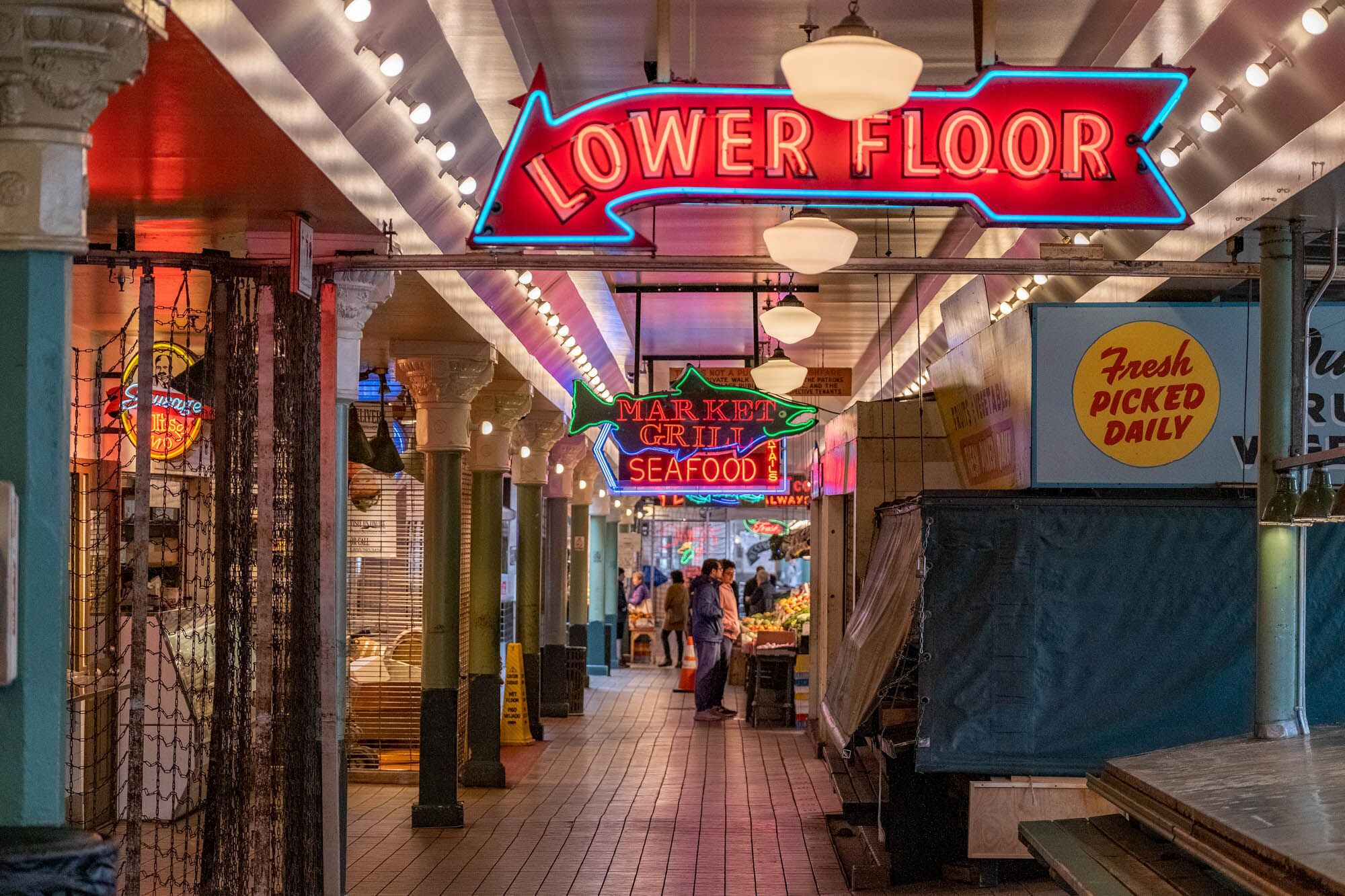 A view of a partially closed Pike Place Market