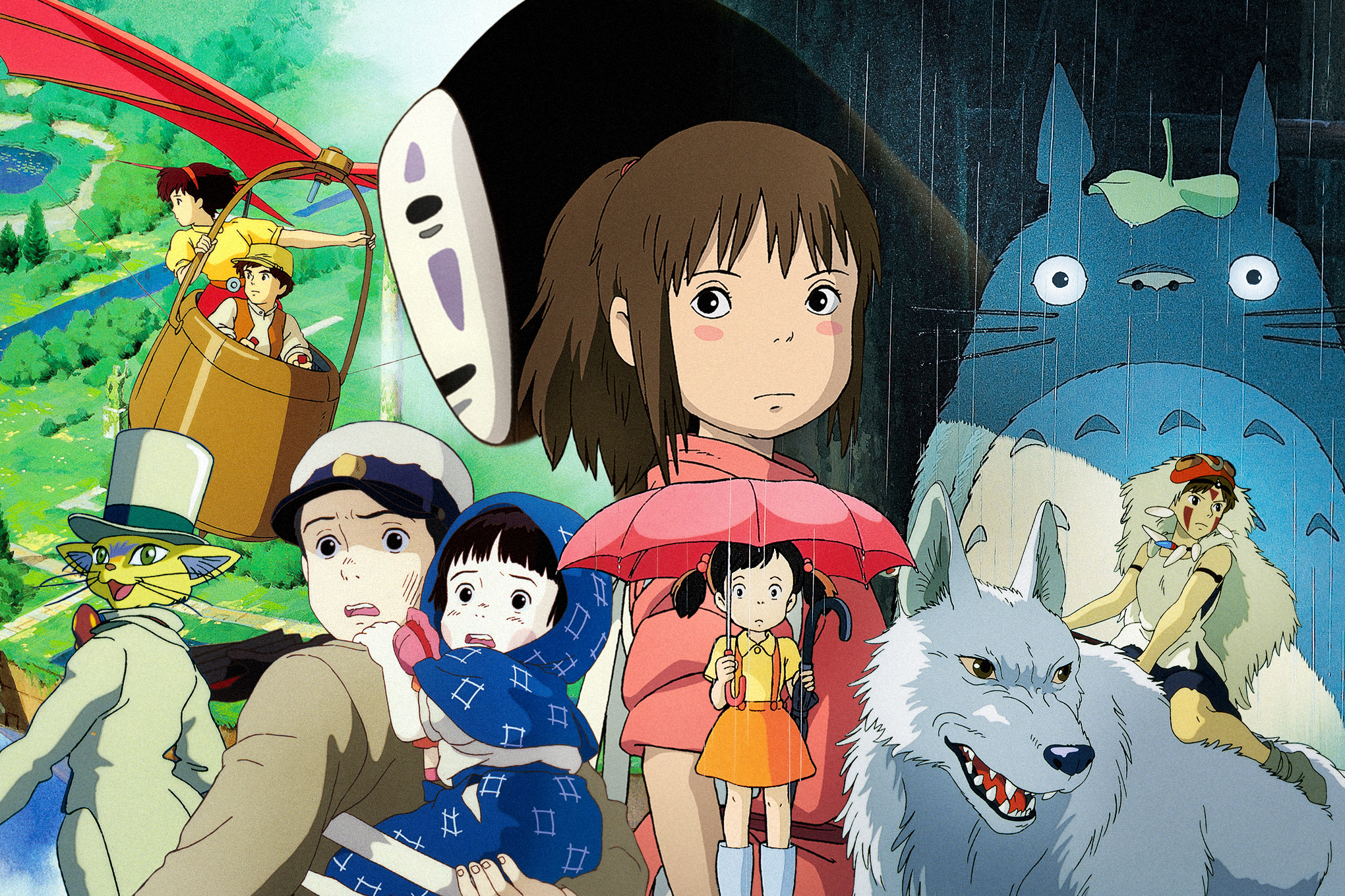 A collage of animated characters from Studio Ghibli movies