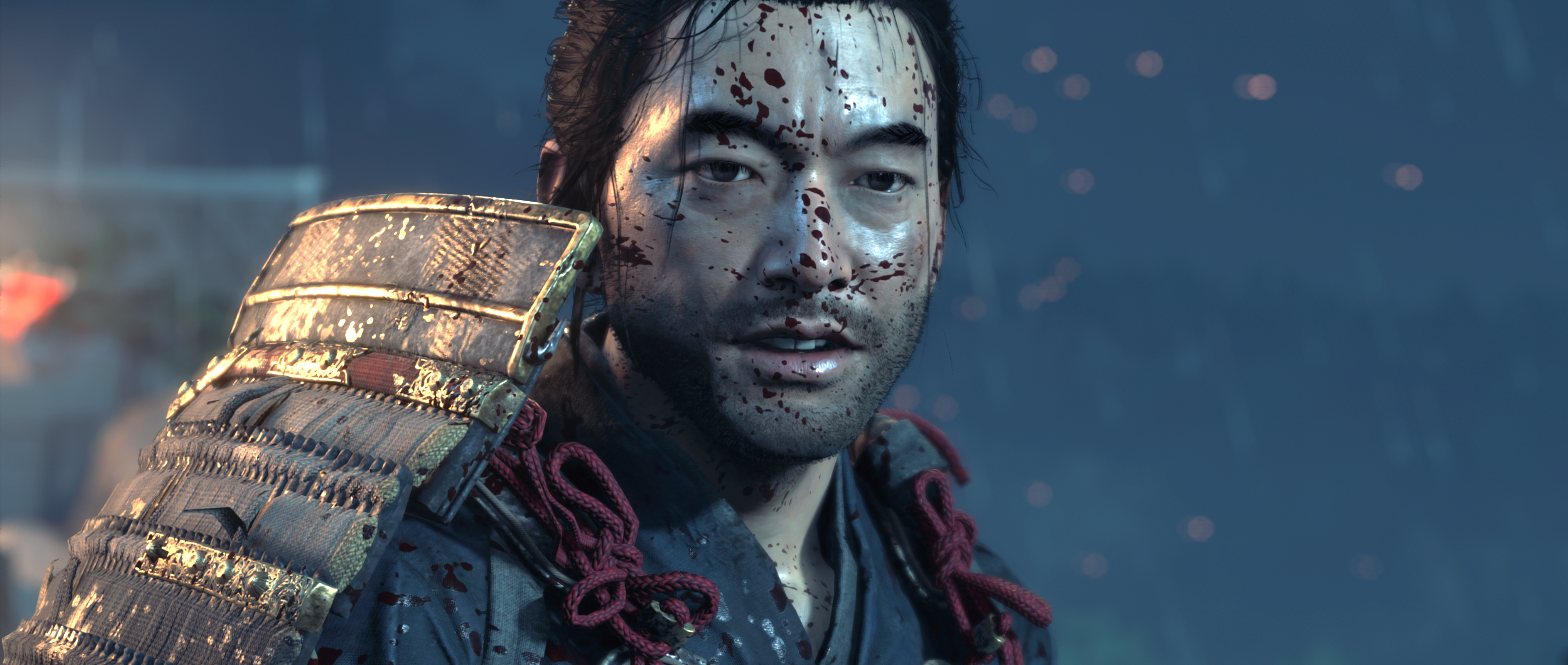 A bloodied Jin in Ghost of Tsushima