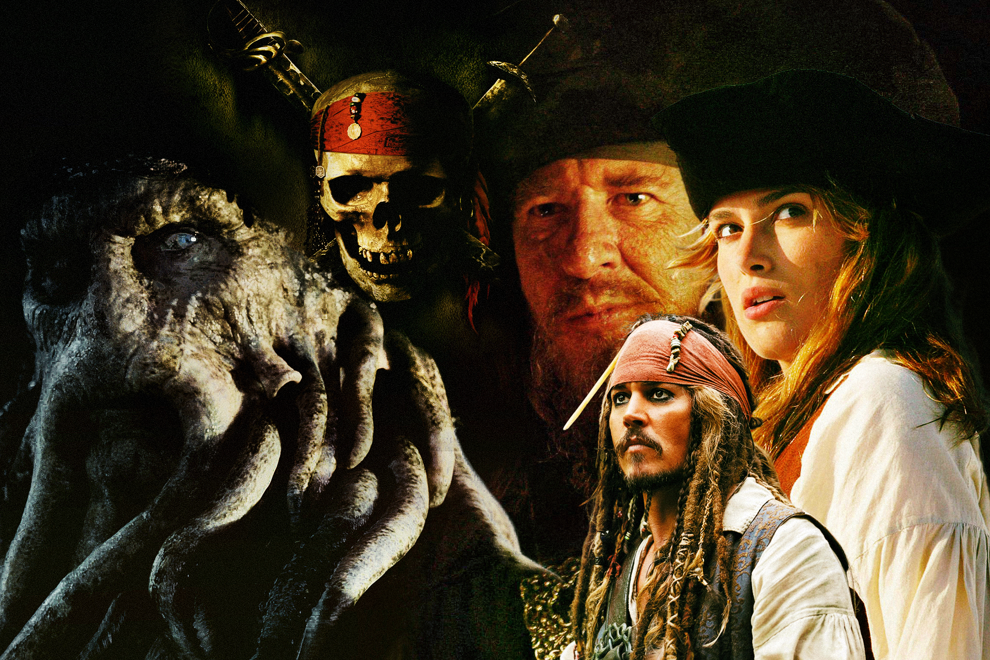 Photo montage feature still images from the movie Pirates of the Caribbean