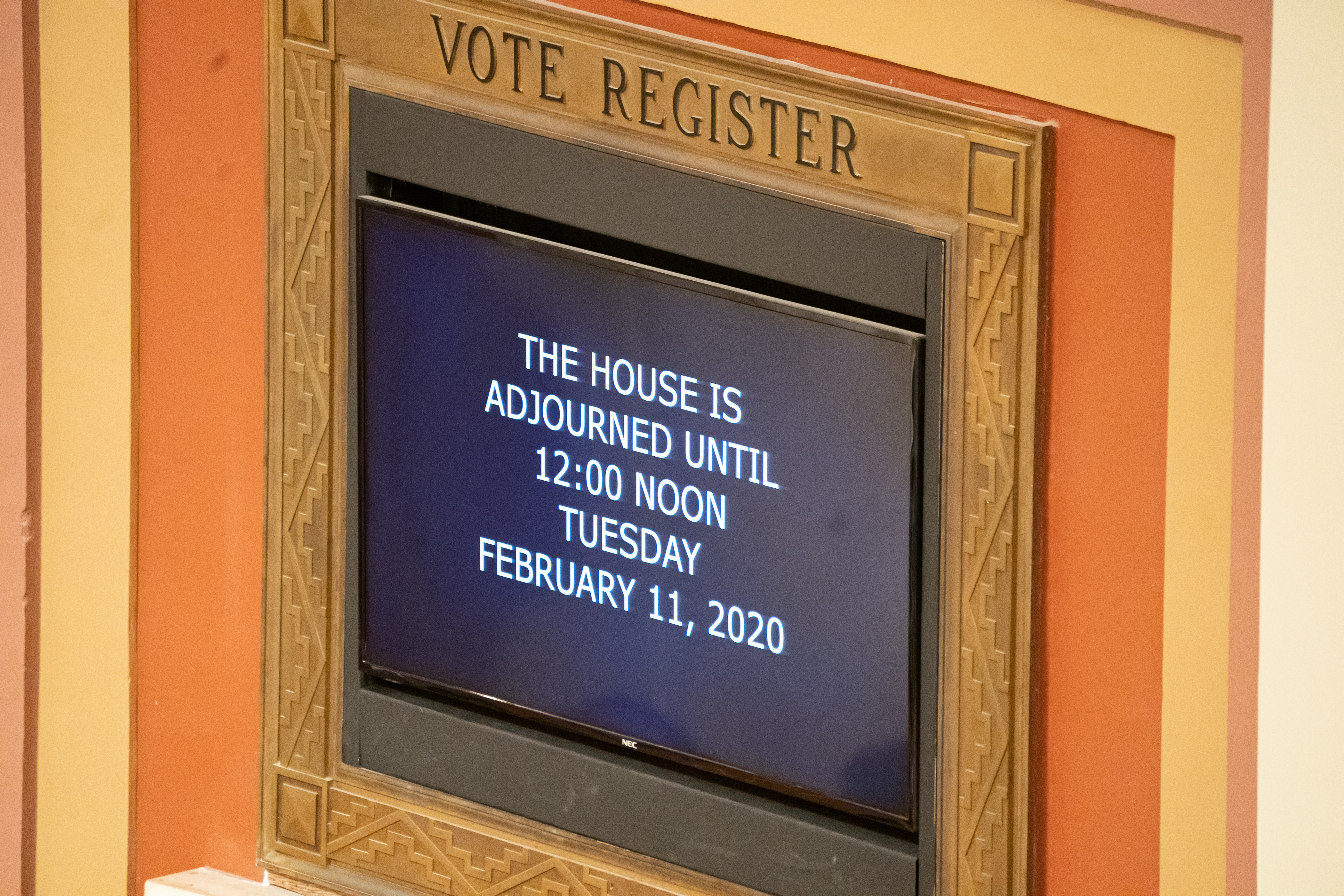 The board in the House Chamber says the House is adjourned until Feb. 11, 2020. A special session was required to finish much of the work that was not completed before the regular session ended.