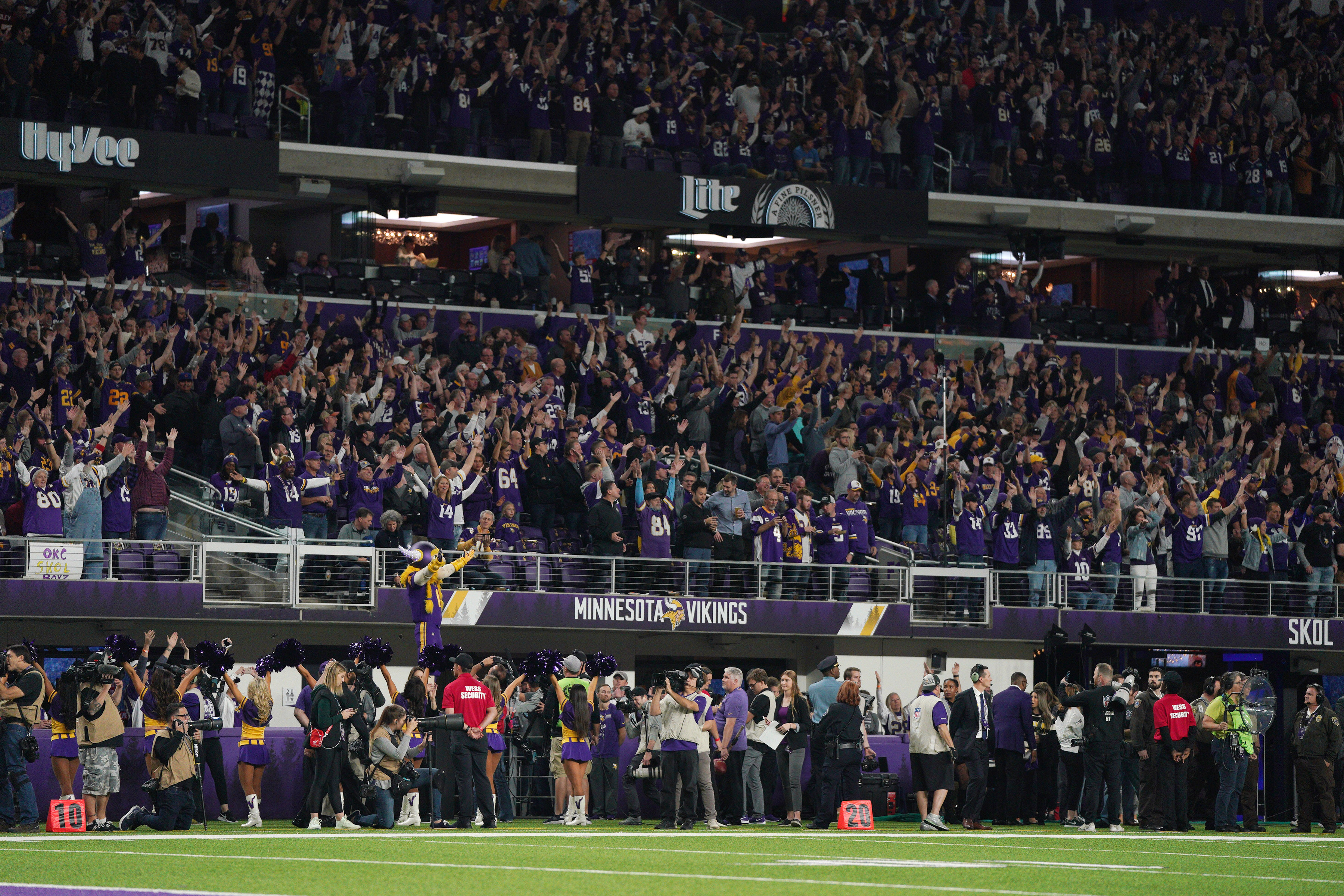 At times, the sidelines of a Vikings came can seem crowded with lots of people who are not players, including during this game against Washington on Oct. 24.