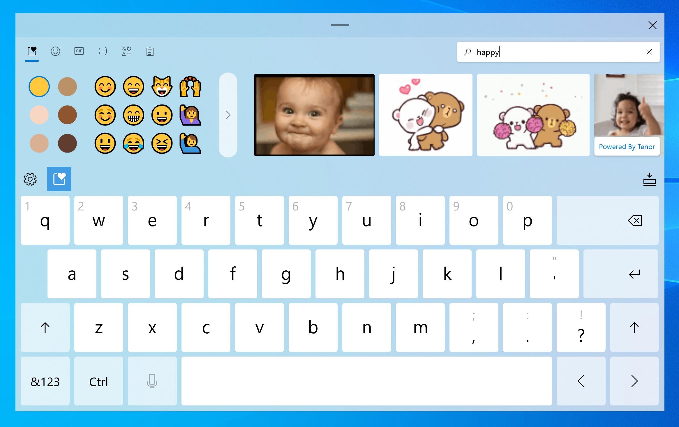 Обновленная сенсорная клавиатура в Windows 10