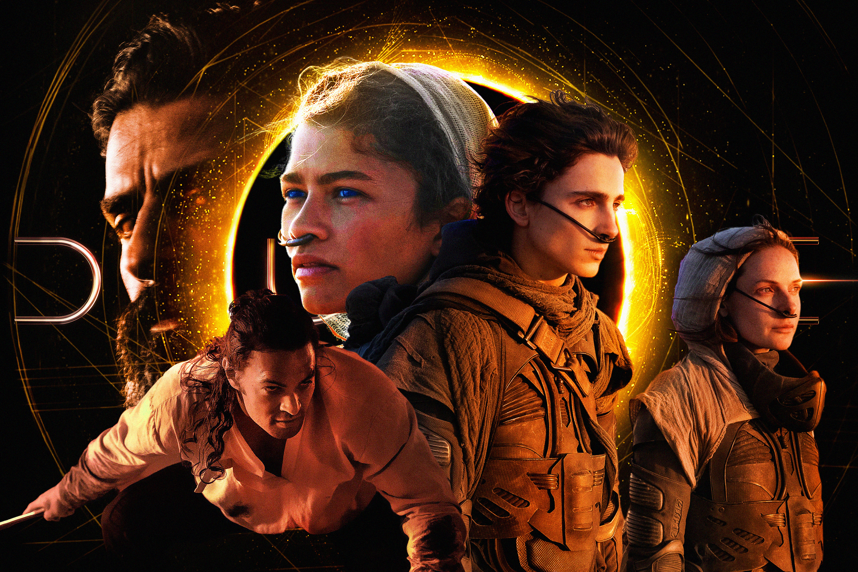 Photo illustration featuring a montage of the main characters from the Movie DUNE on a dark background and a glowing planet