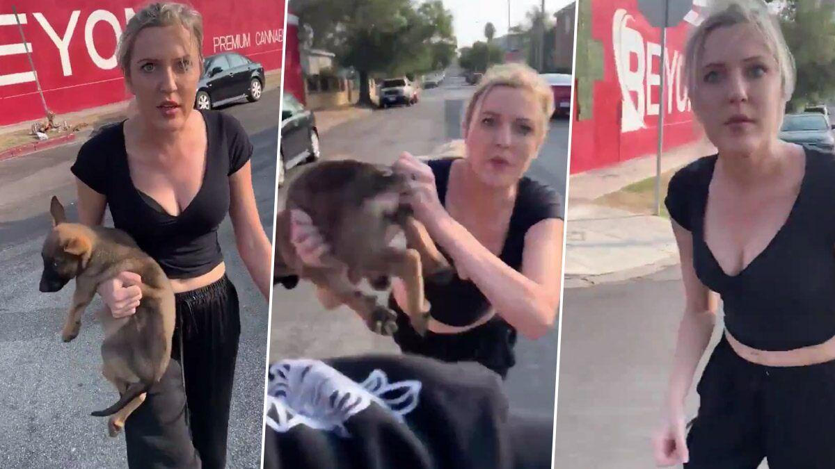 white woman throws dog