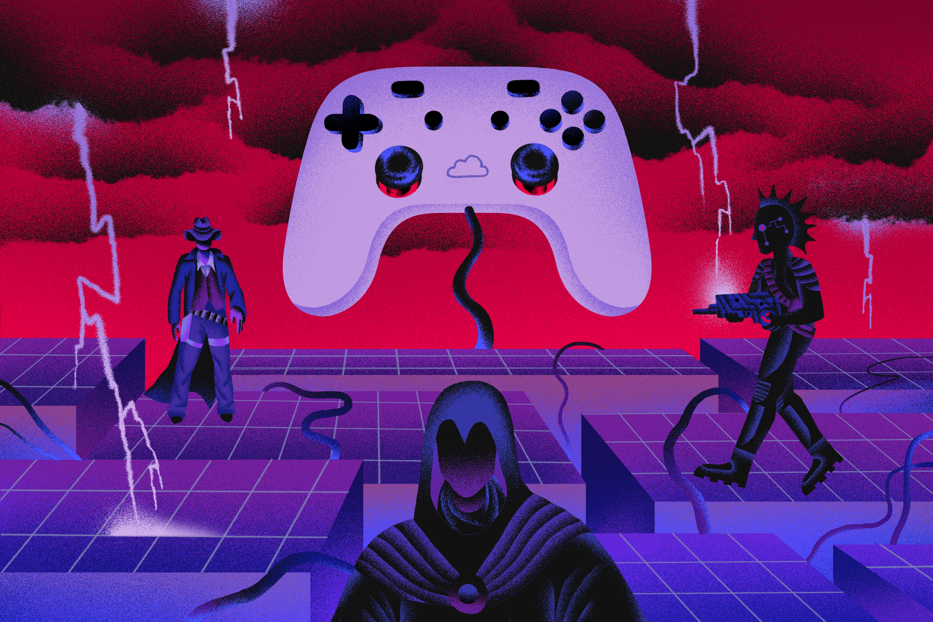 A large controller looms in the night sky. Lightning strikes in the distance and three video game characters lurk on various levels below the controller. Illustration.