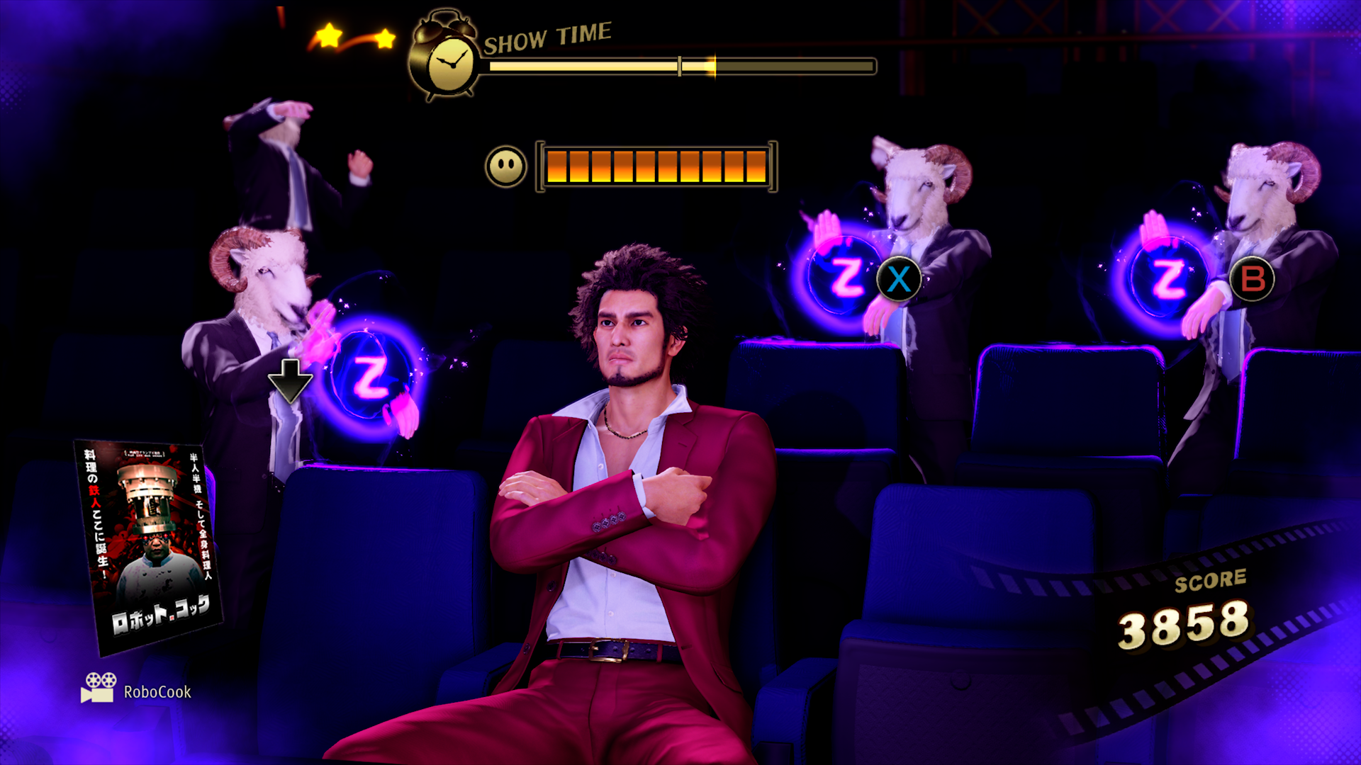 Yakuza: Like a Dragon. Ichiban Kasuga sits at a movie theater, trying to stay awake watching RoboCook, as the sheep-headed agents of sleep work their magic on him, hoping to make him catch some Z's.