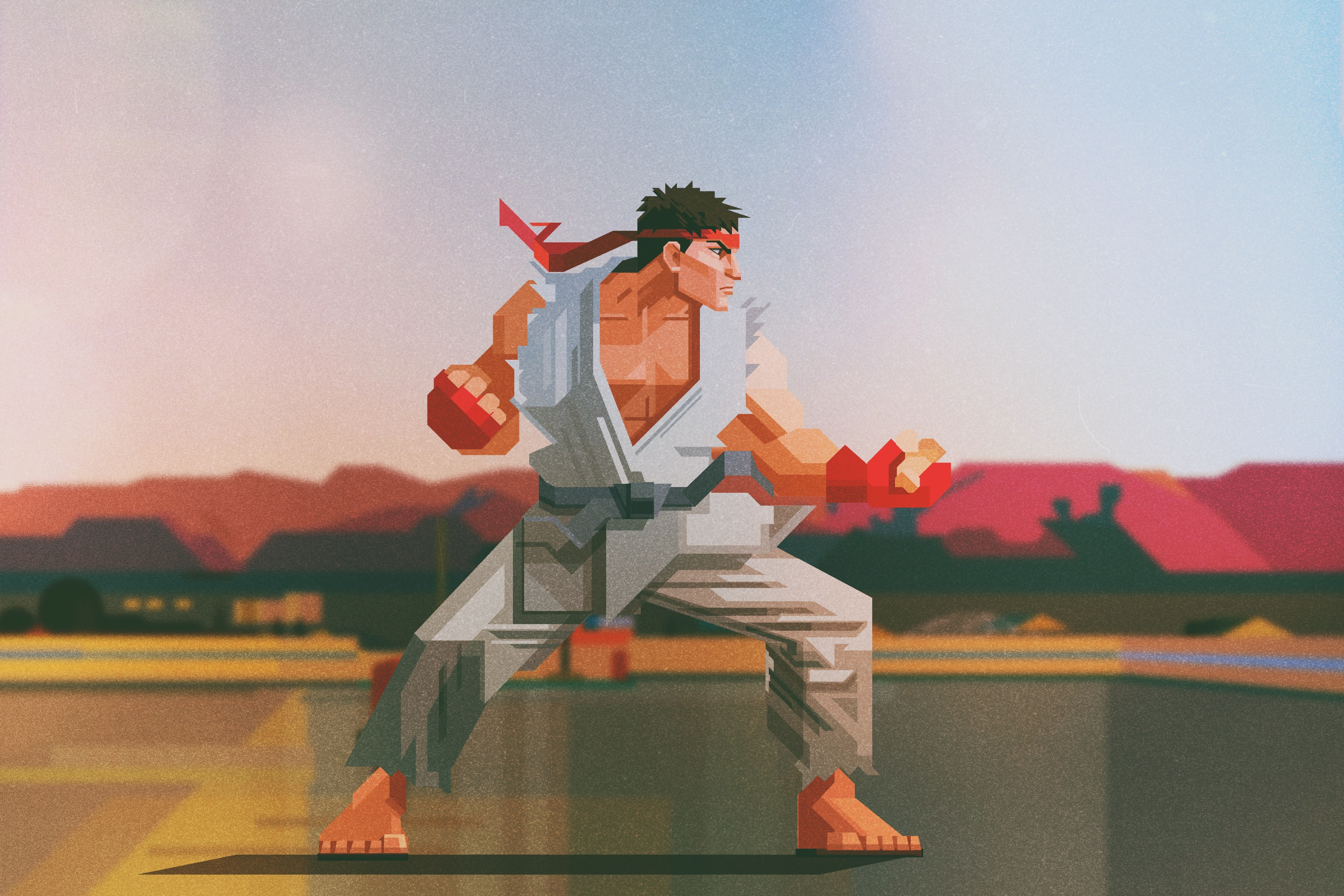 A stylized illustration of Ryu from Street Fighter