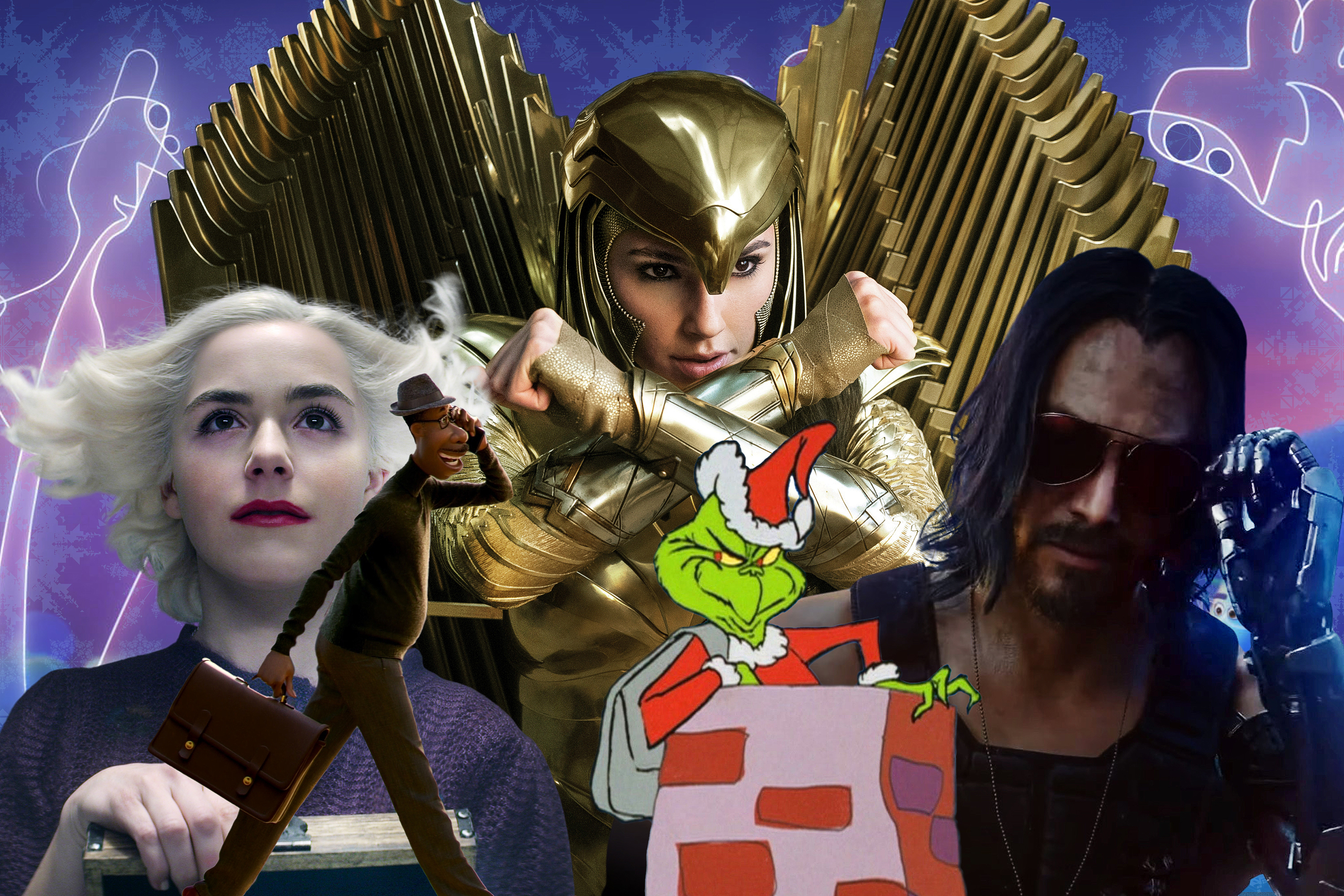 Graphic collage of characters from upcoming games and movies airing over the holidays