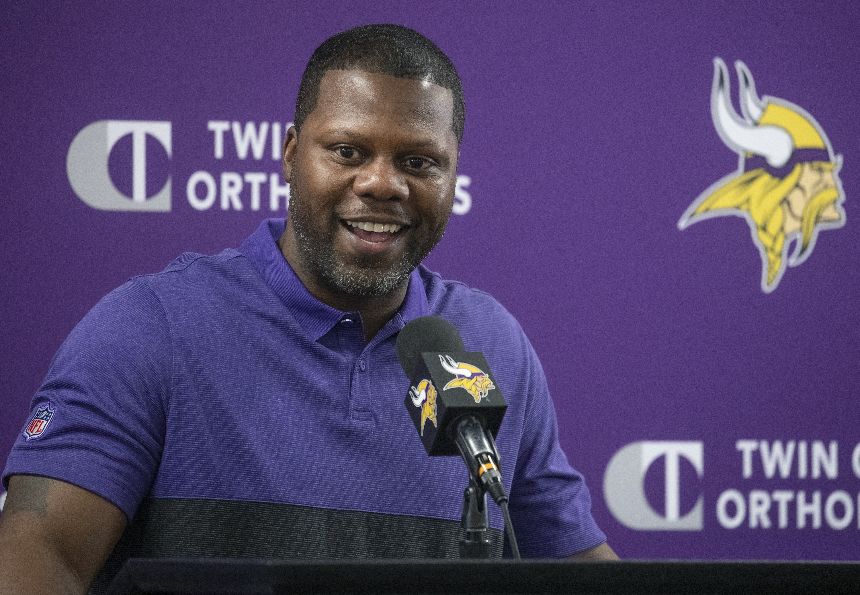 Vikings defensive backs coach Daronte Jones at a news conference in February.