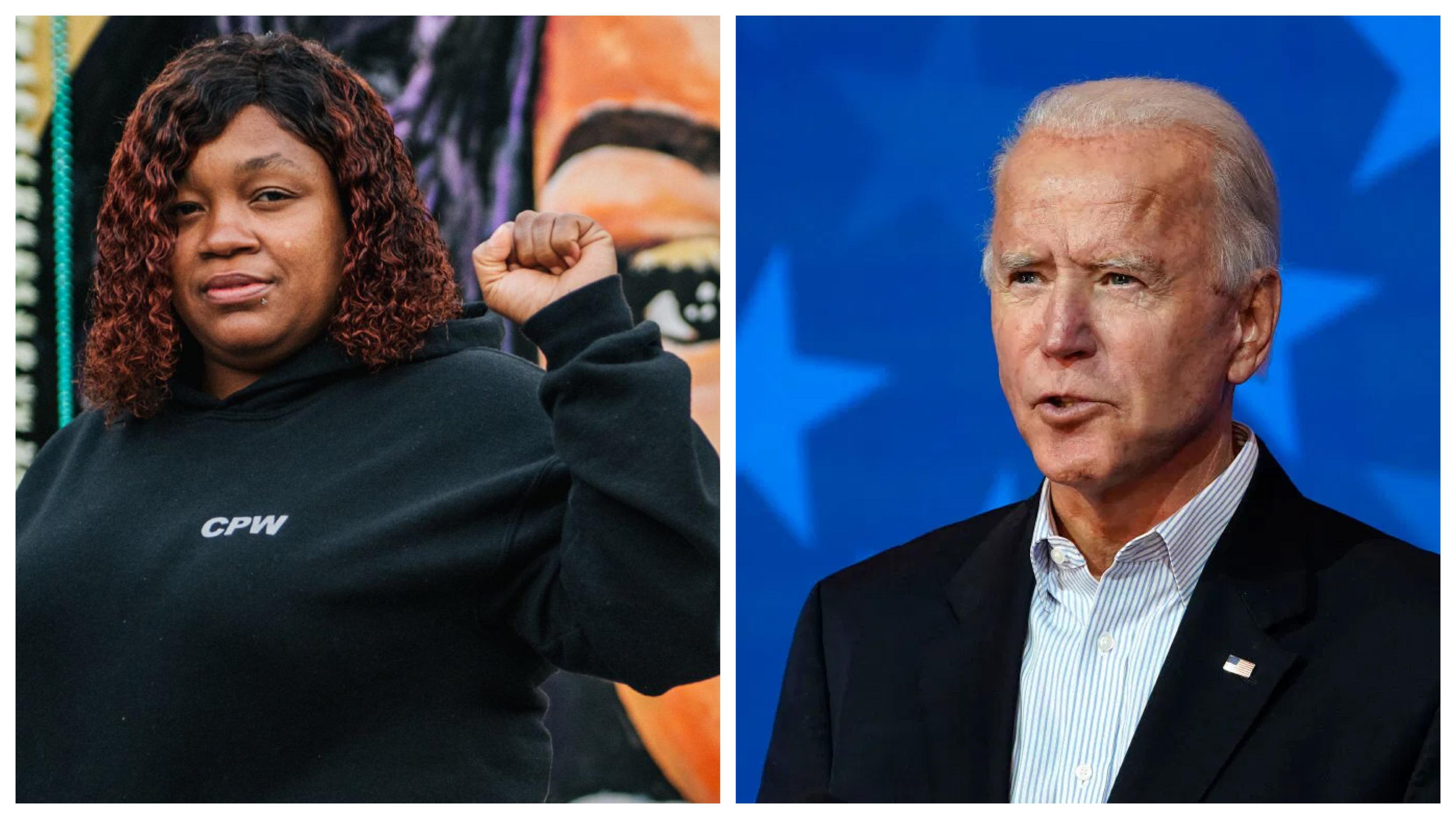 Tamika Palmer and Joe Biden