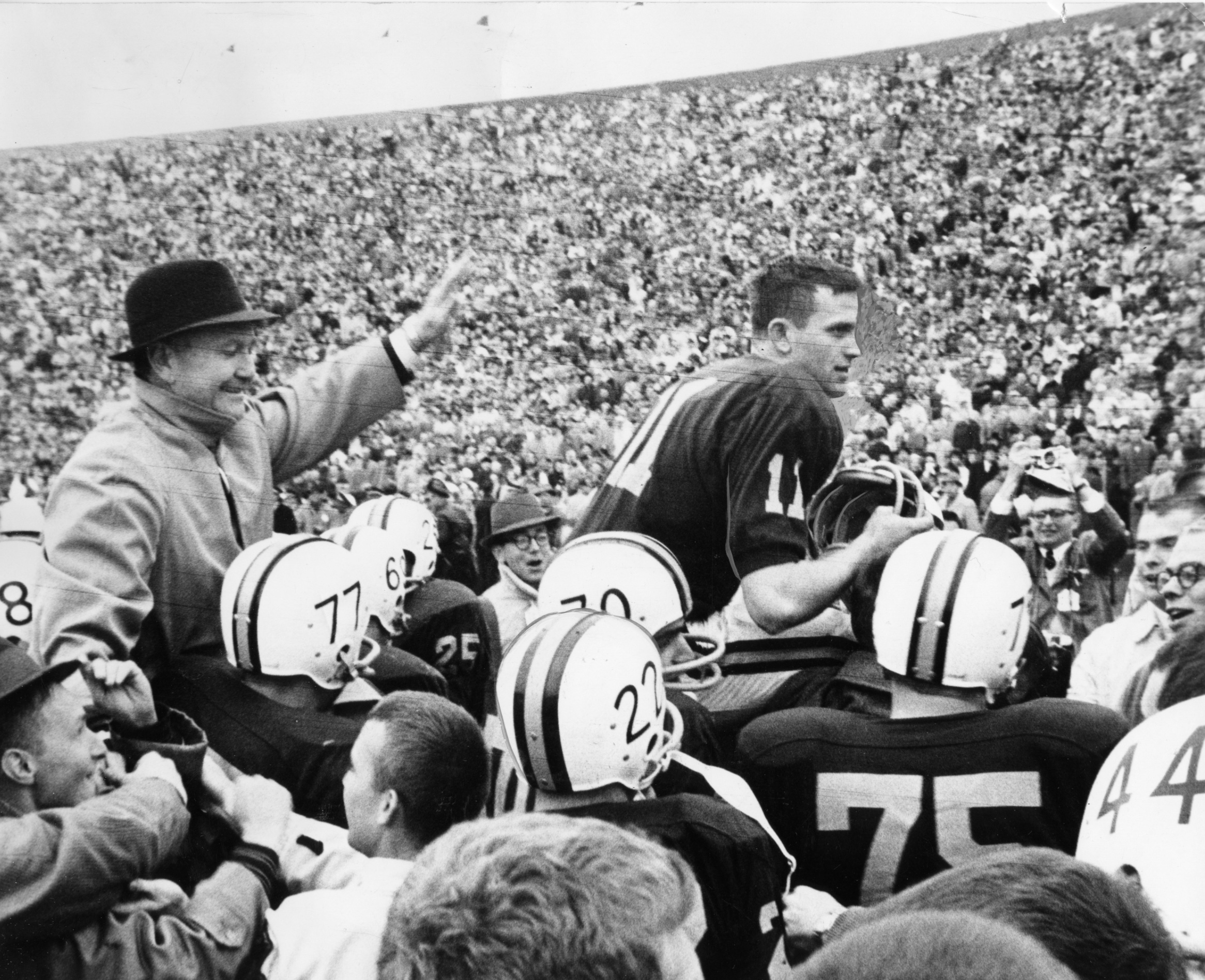 Gophers football players celebrated their decisive 27-10 victory over No. 1 Iowa on Nov. 5, 1960. The Gophers earned the national championship and a berth in the Rose Bowl.