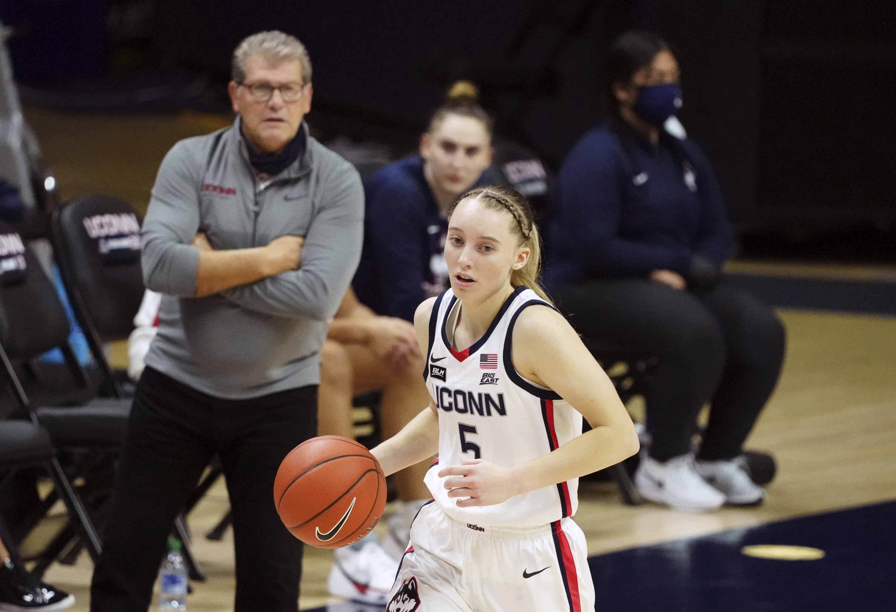 The next part of Paige Bueckers' basketball career is being monitored under the watchful eye of UConn coach Geno Auriemma.