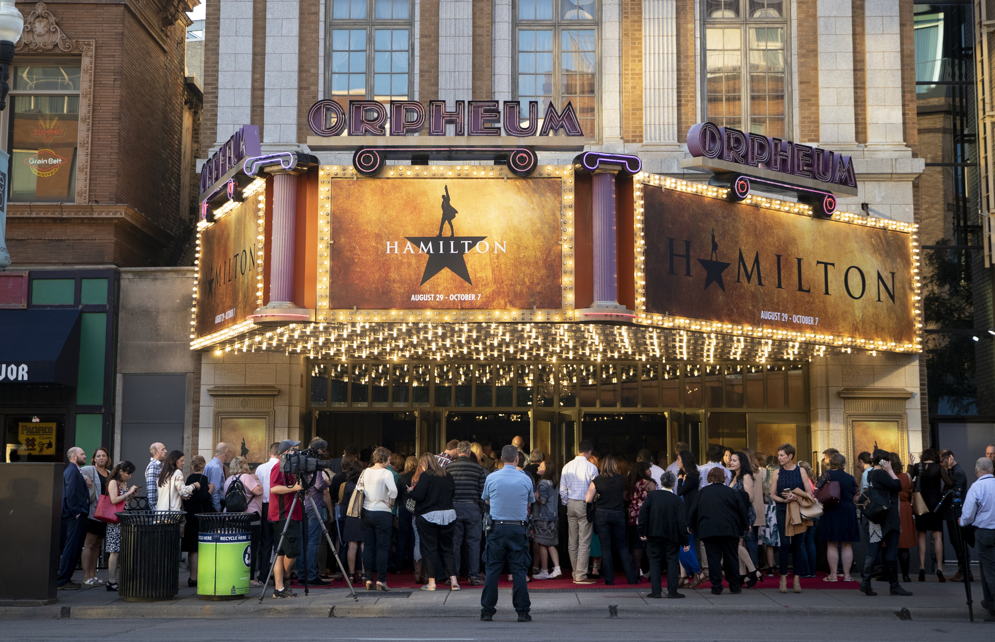 A large crowd lined up to get in to opening night of Hamilton at the Orpheum Theatre in 2018.