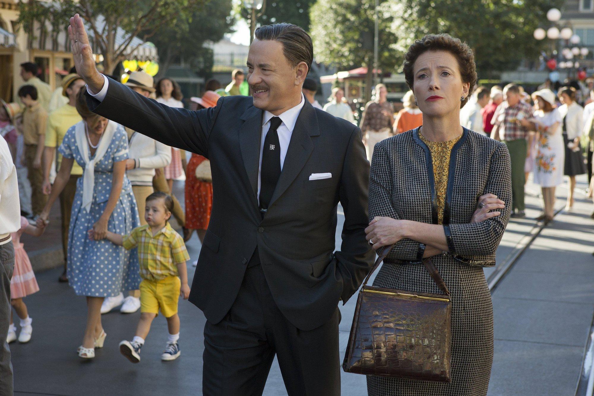 Walt Disney (Tom Hanks) shows Disneyland to 'Mary Poppins' author P.L. Travers (Emma Thompson) in 'Saving Mr. Banks.'