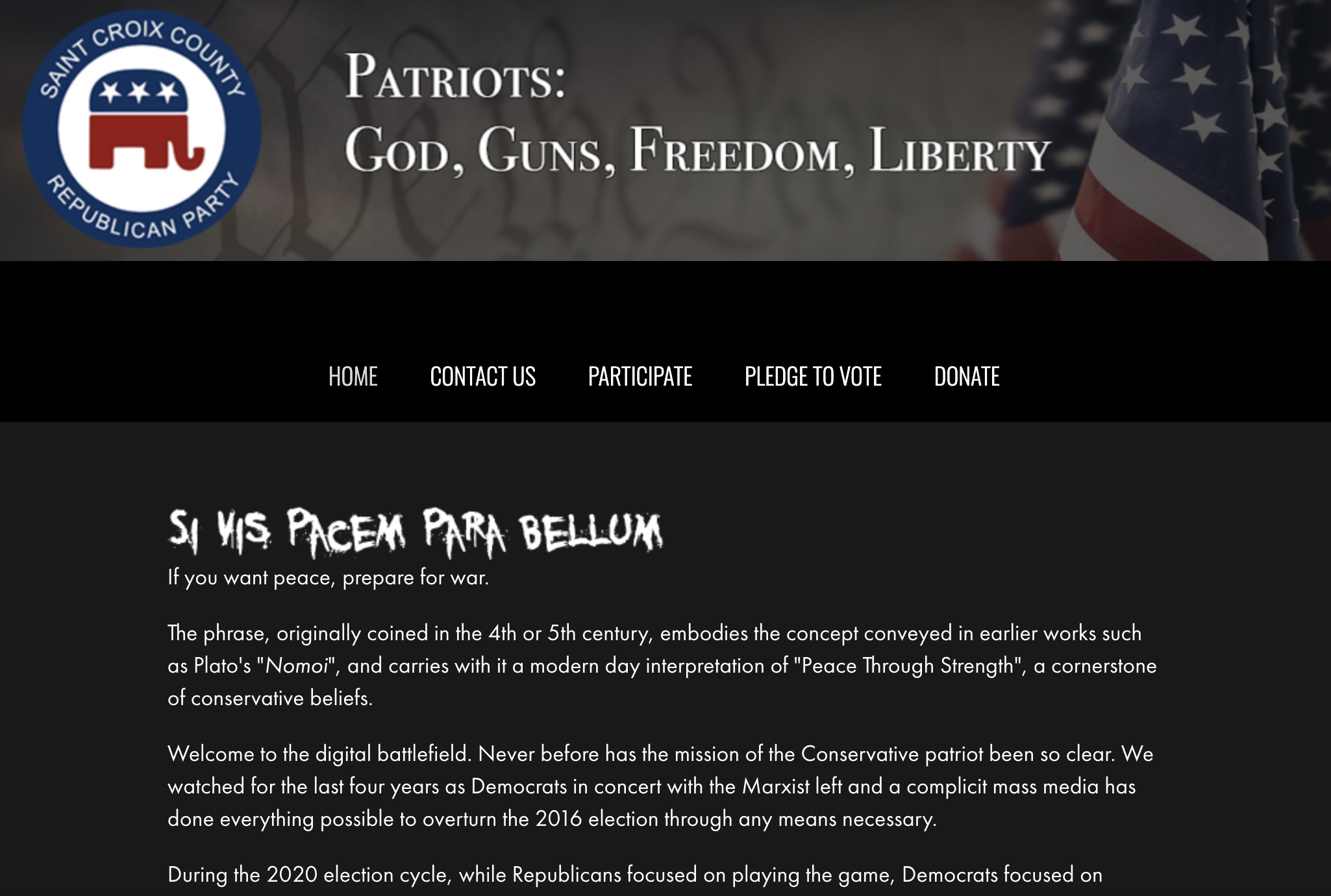 A screen capture shows the home page of the St. Croix County Republican website with the