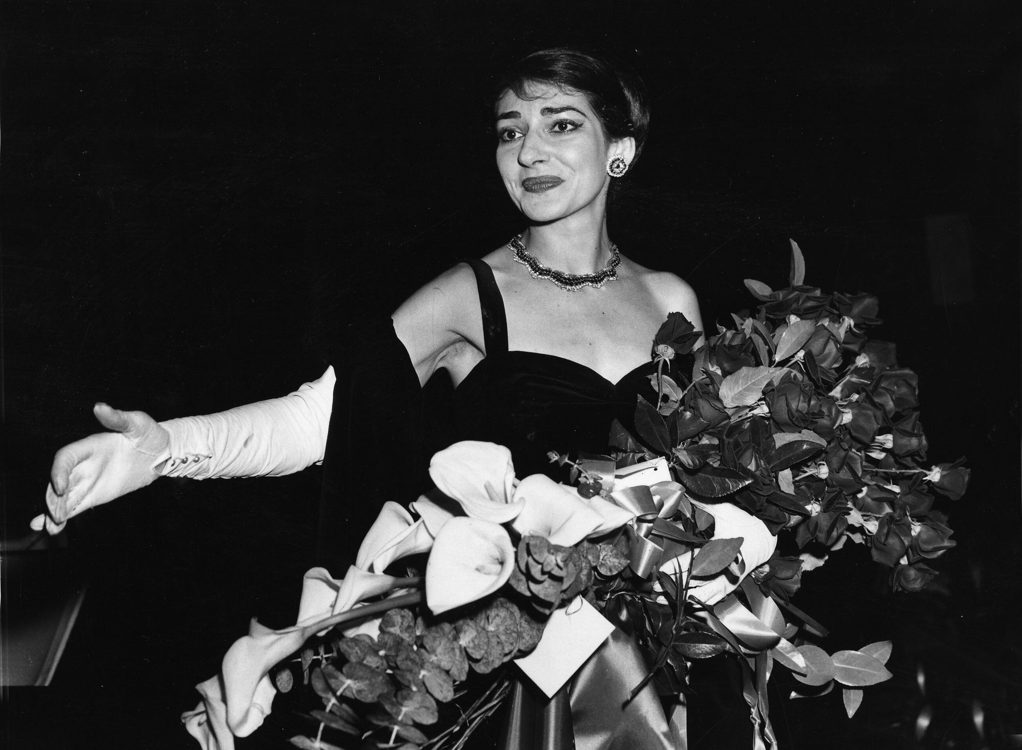 Maria Callas, Opera singer shown at curtain call after her concert at the Chicago Civic Opera House in 1958.