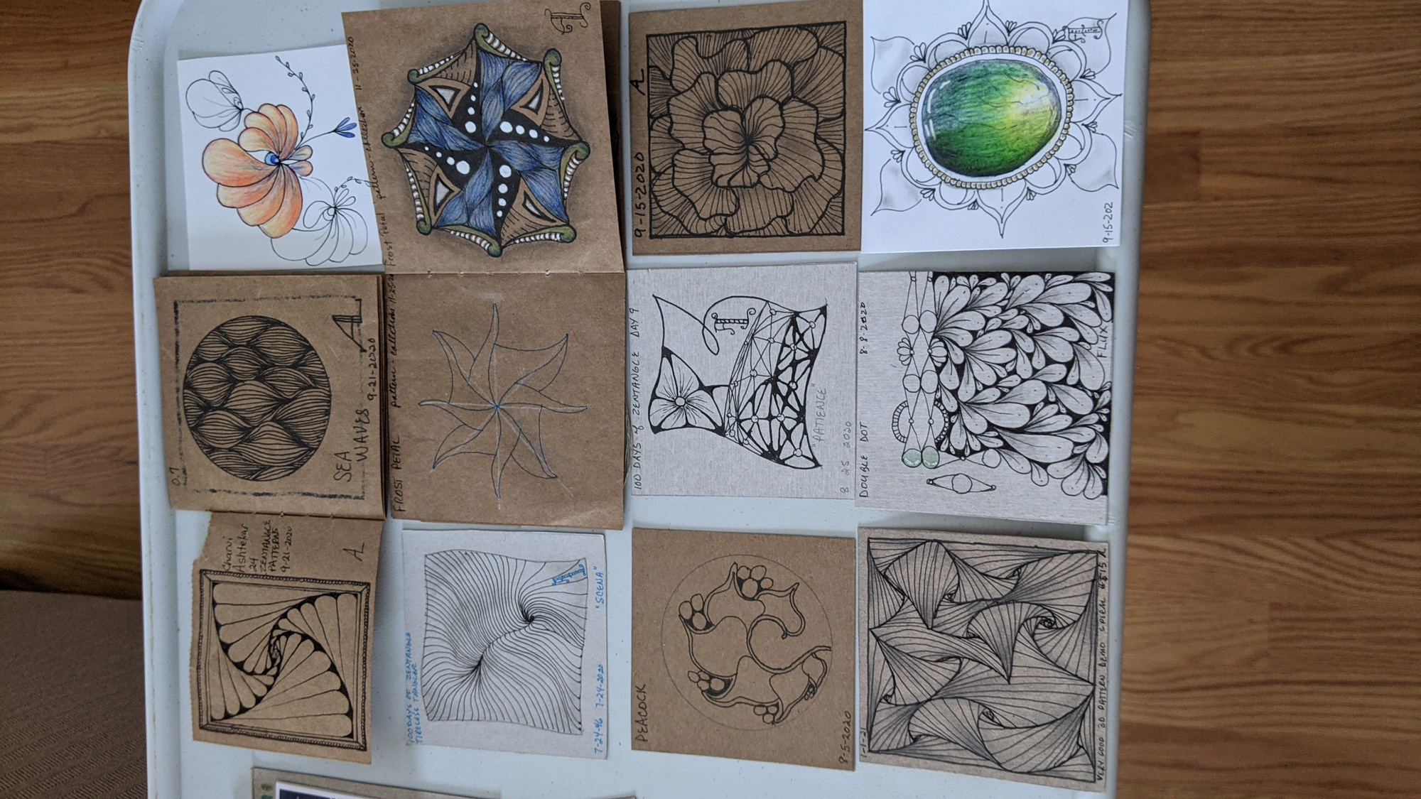 Ann Lopour learned the art of zen doodling in a virtual class, creating the intricate drawings pictured.