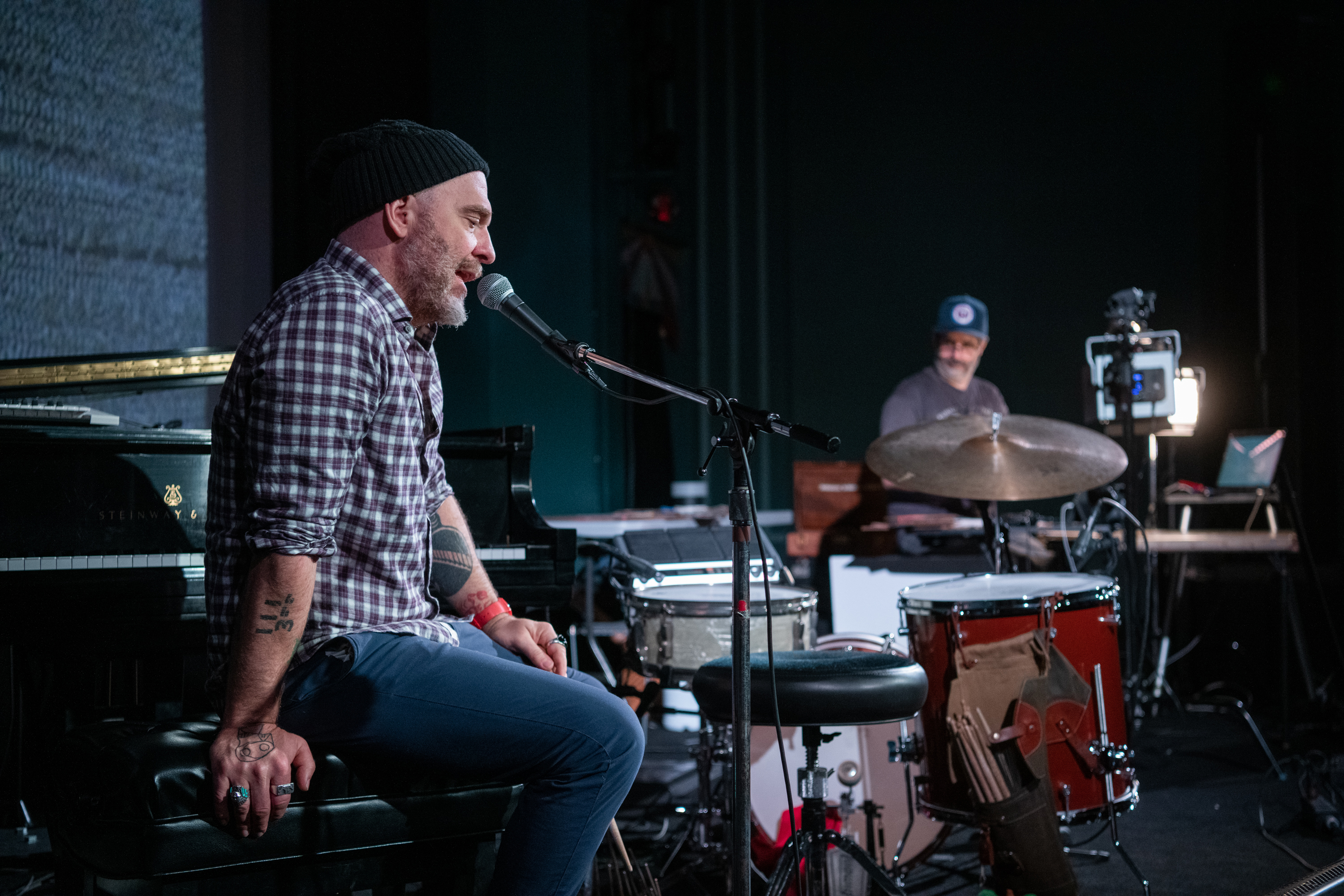 Photographer Alec Soth and drummer Dave King rehearse their new project, The Palms, at the Parkway Theater.