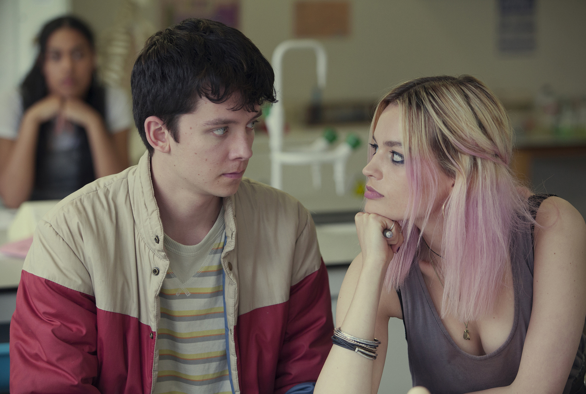 Asa Butterfield and Emma Mackey in 'Sex Education.'