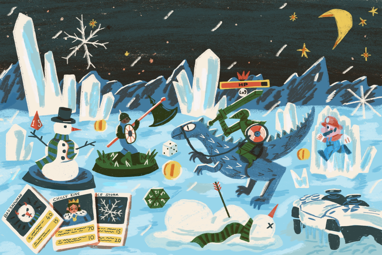 Video game characters trek across a snowy landscape, facing off against sentient snowmen