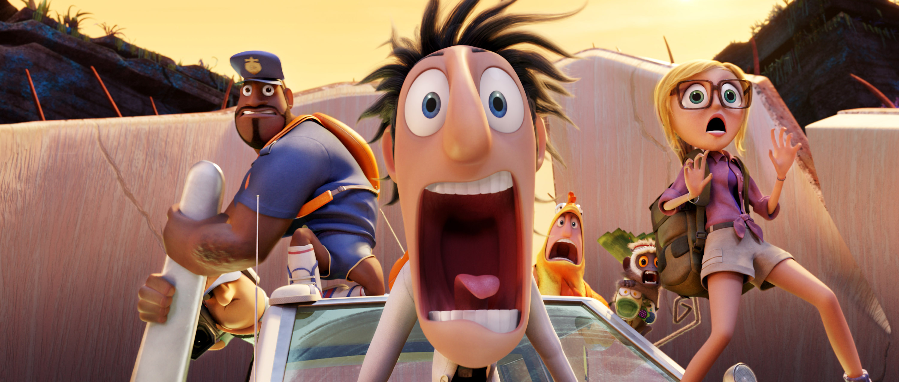 Earl, voiced by Terry Crews, Flint, voiced by Bill Hader, and Sam, voiced by Anna Faris in a scene from 'Cloudy with a Chance of Meatballs.'