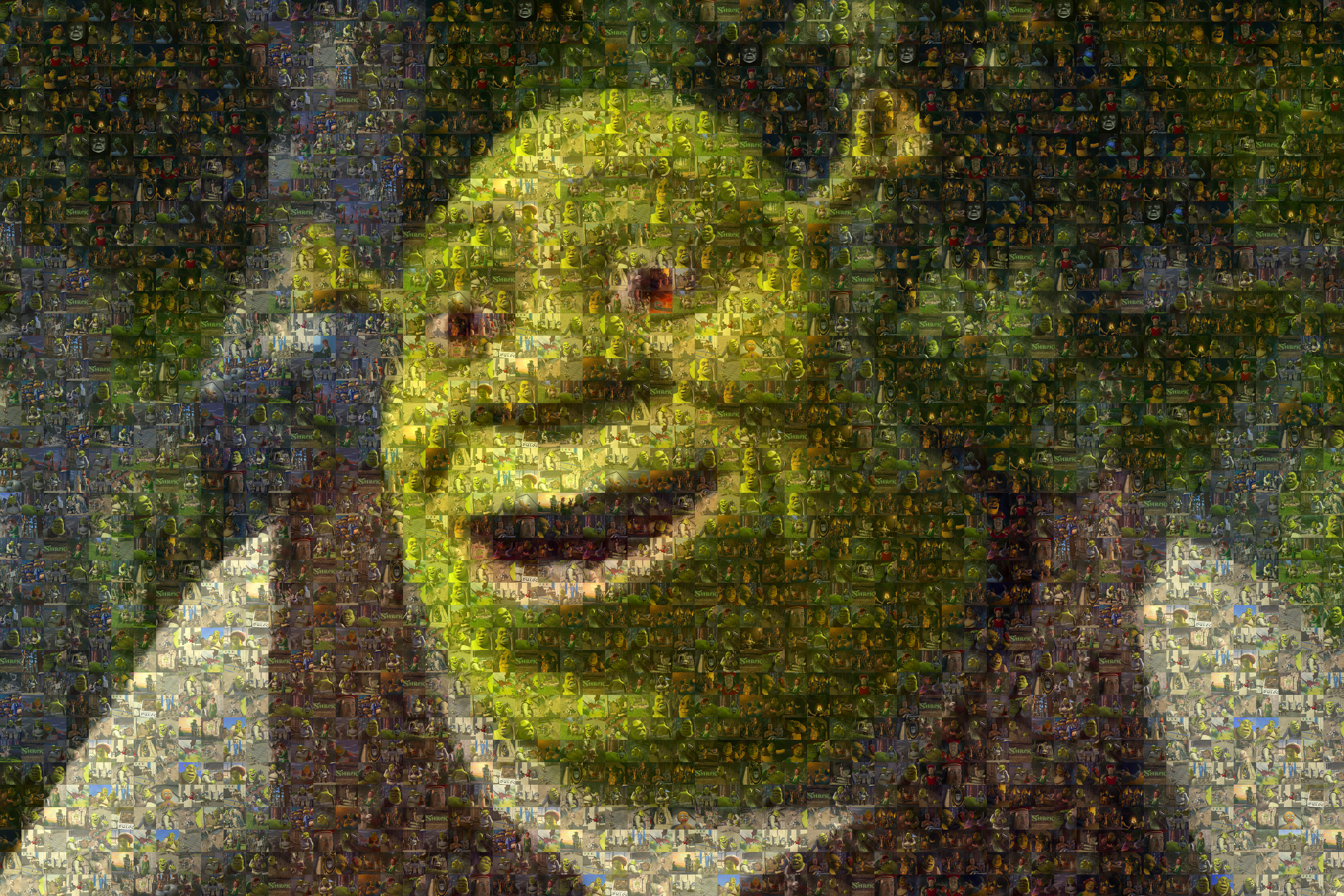 Image of the character Shrek made from hundreds of pictures of Shrek