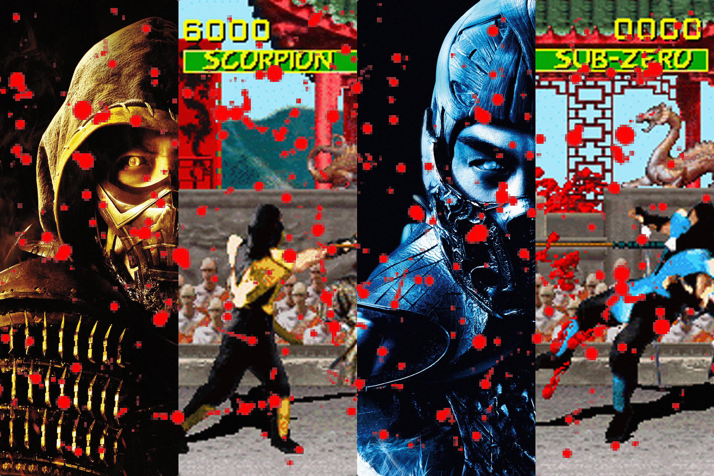 Graphic with images of the Scorpion and Sub-Zero characters from both the Mortal Kombat movie and the game.