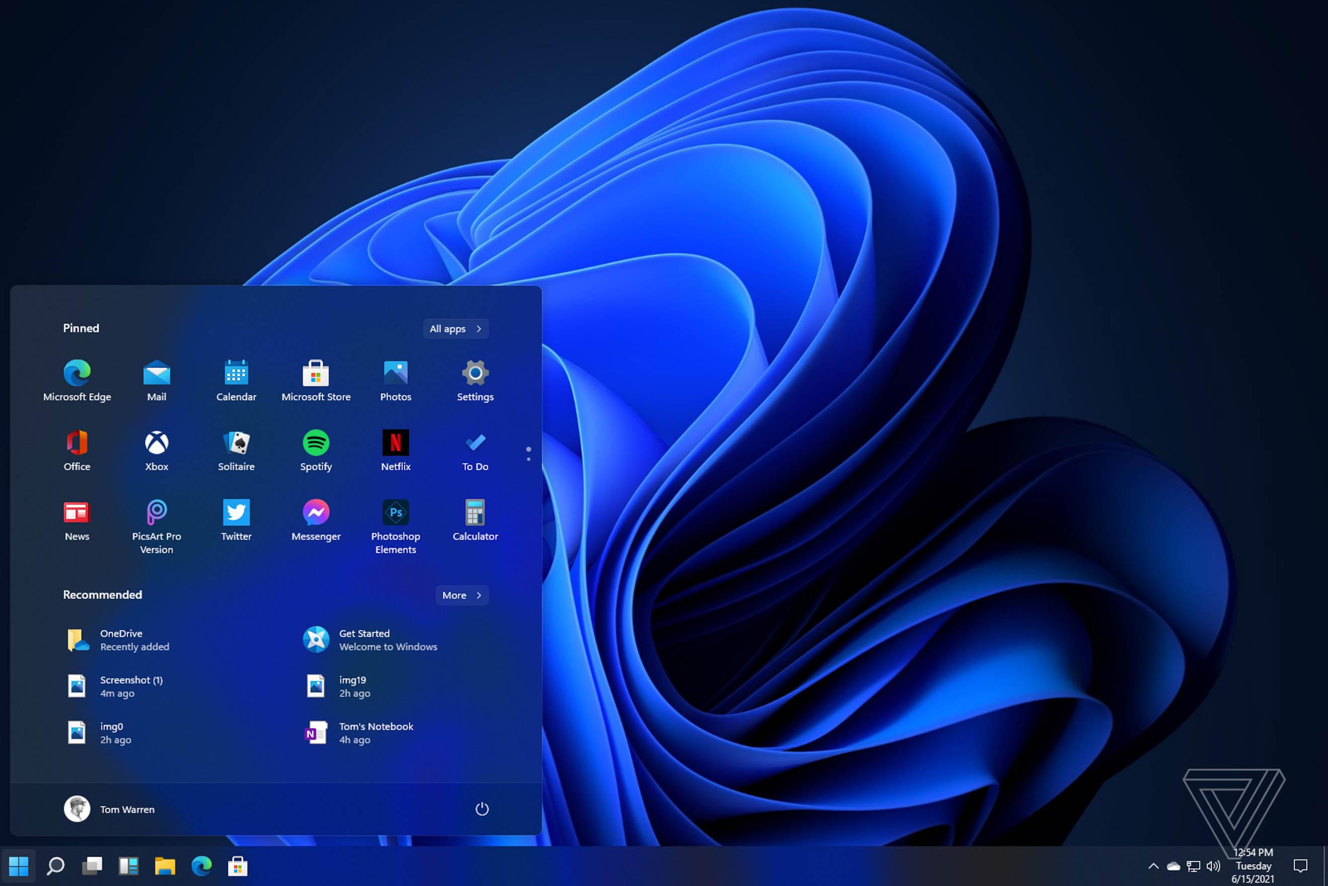 Menu Start systemu Windows 11 można przenieść nalewą stronę. Źródło: theverge