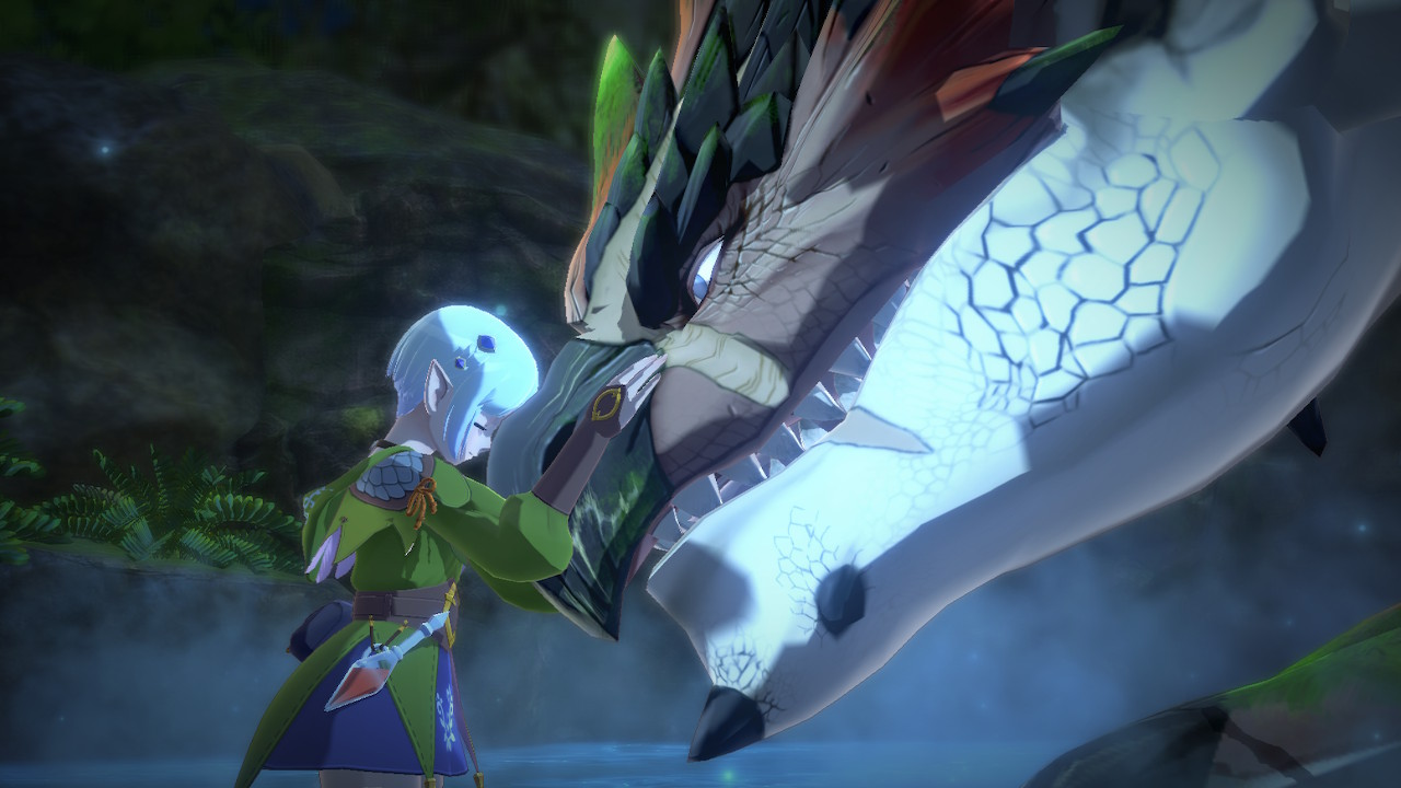 Ena from Monster Hunter Stories 2: Wings of Ruin rests her head on a Rathalos