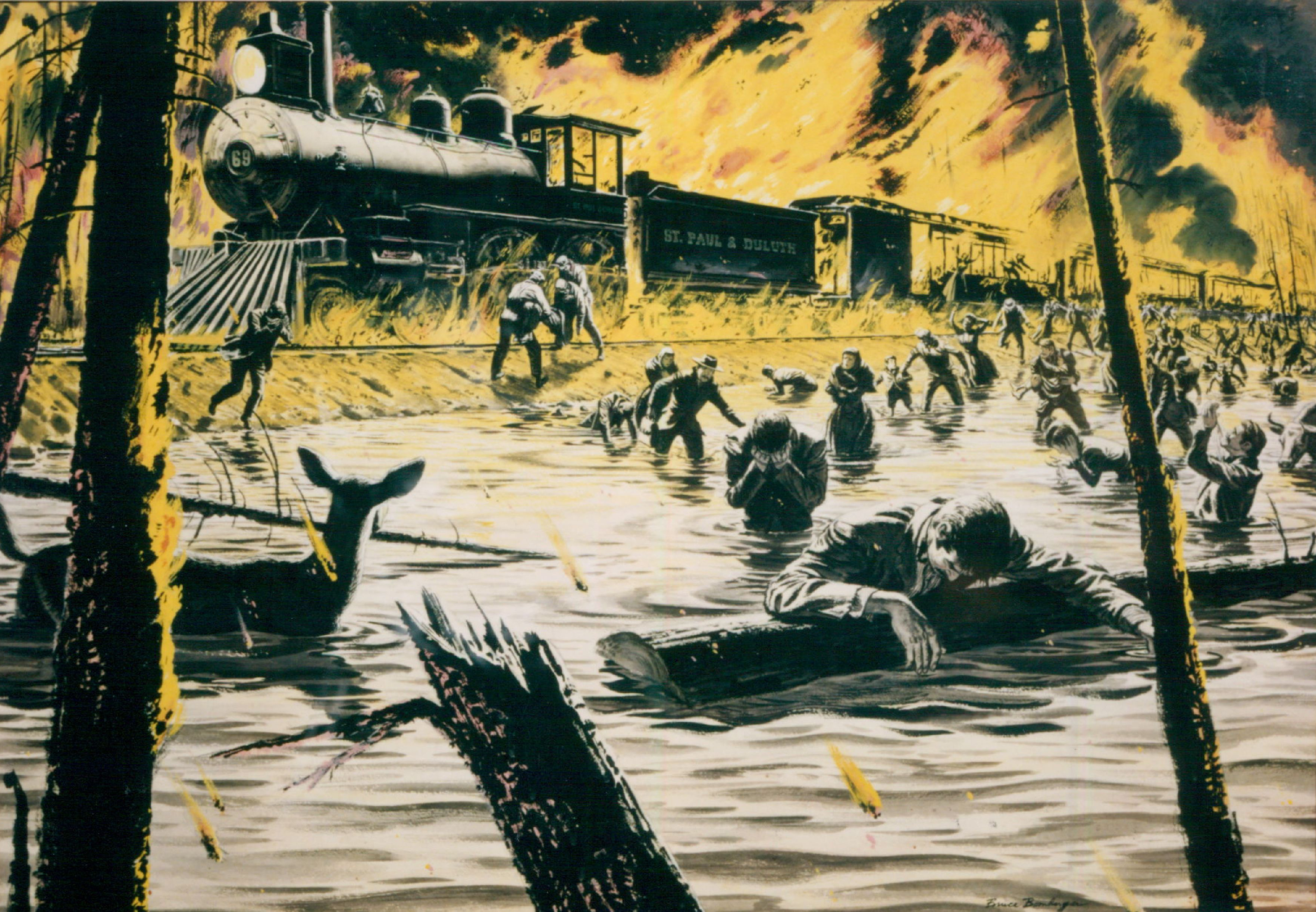 This illustration of the 1918 fires, painted in 1950 for 'True Magazine,' depicts people escaping from a burning train.