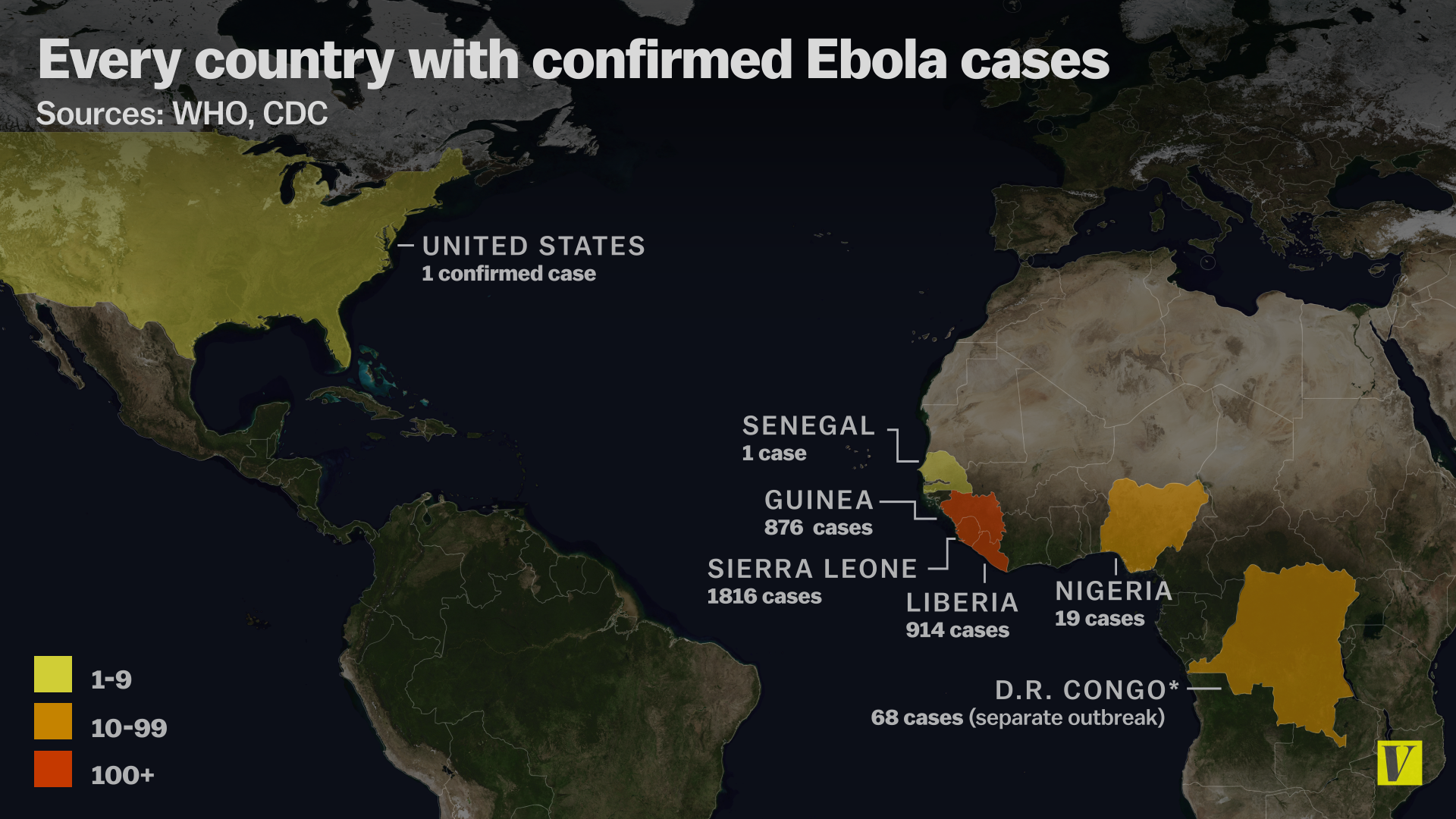 We Have Ebola In The US But Africa Remains Most At Risk Vox - Map from us to africa