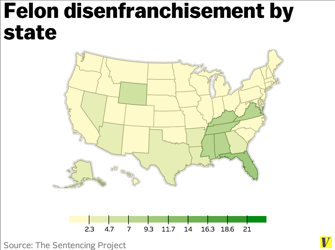 felon disenfranchisement Help us create more of these videos donate 61 million americans cannot vote because of felony disenfranchisement rates of felon disenfranchisement vary dramatically between states in vermont and maine, felons never.