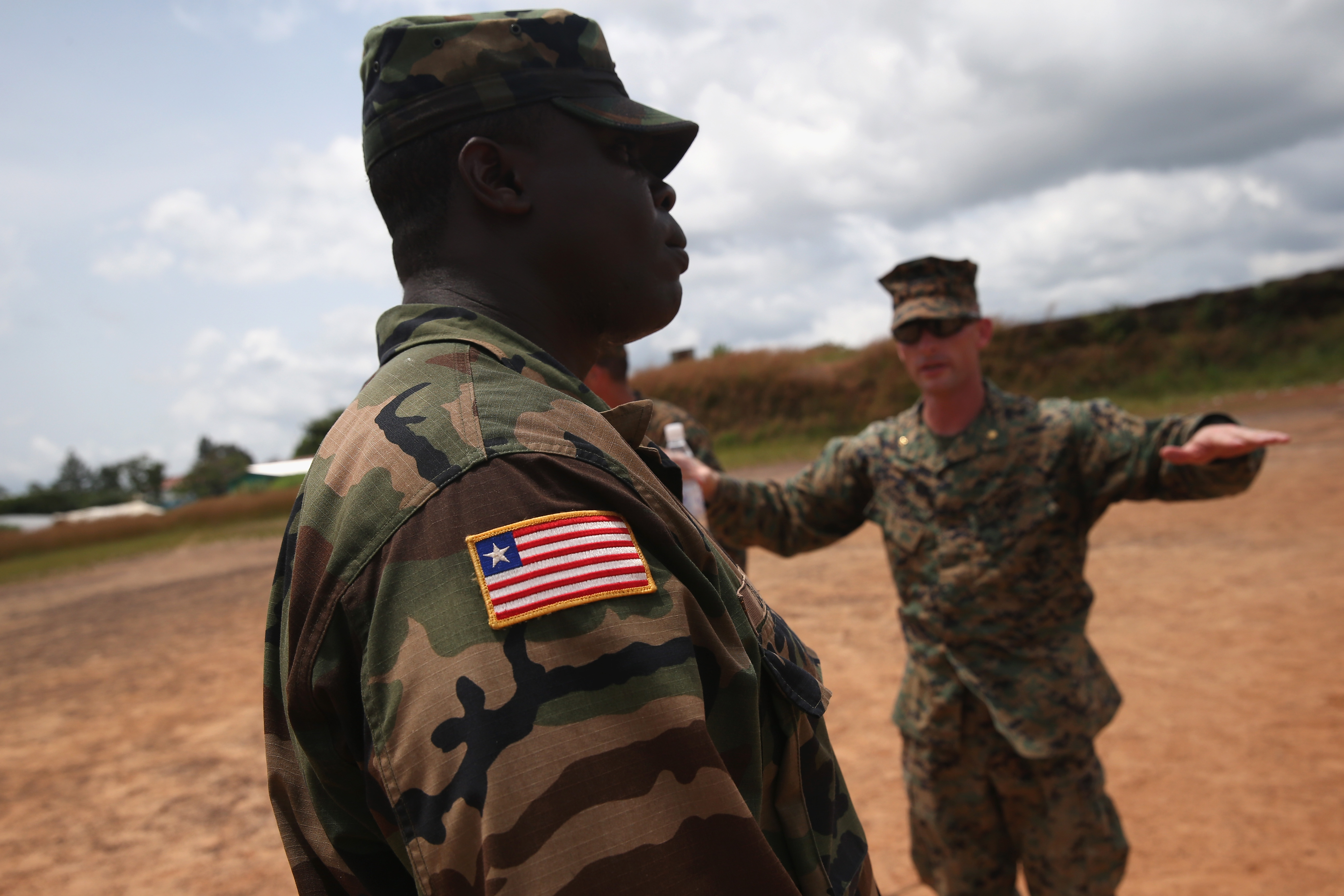 Liberian Army And Us Marine Engineers Work To Set Up A Landing Zone Next To An Ebola Treatment Center In Tubmanburg Liberia In 2014