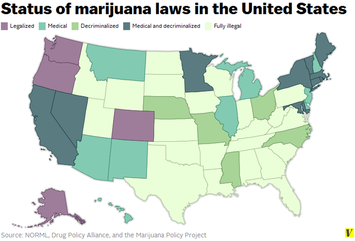 New Highs Marijuana Now Legal In Alaska Oregon And Washington - Us states pot map