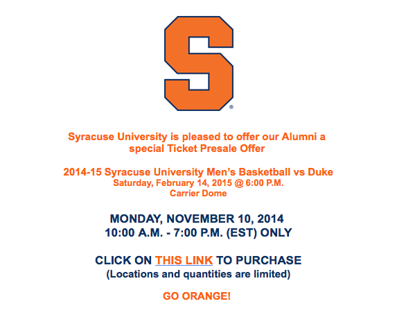 Syracuse Basketball: Duke Tickets On Sale November 10 For