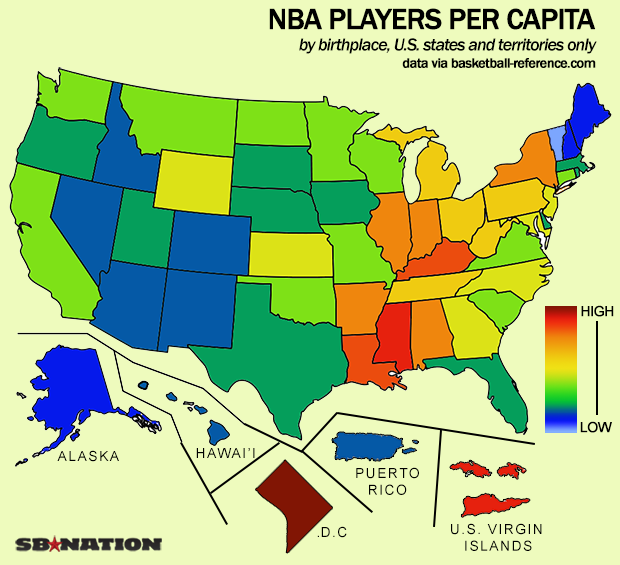 This Map Shows Which States Produce The Most NBA Players - Nba teams map