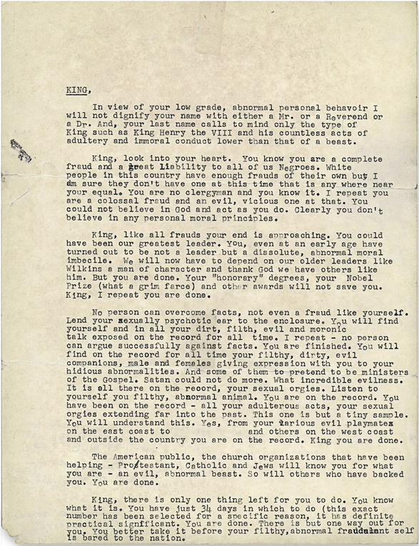 Read the letter the FBI sent MLK to try to convince him to kill himself