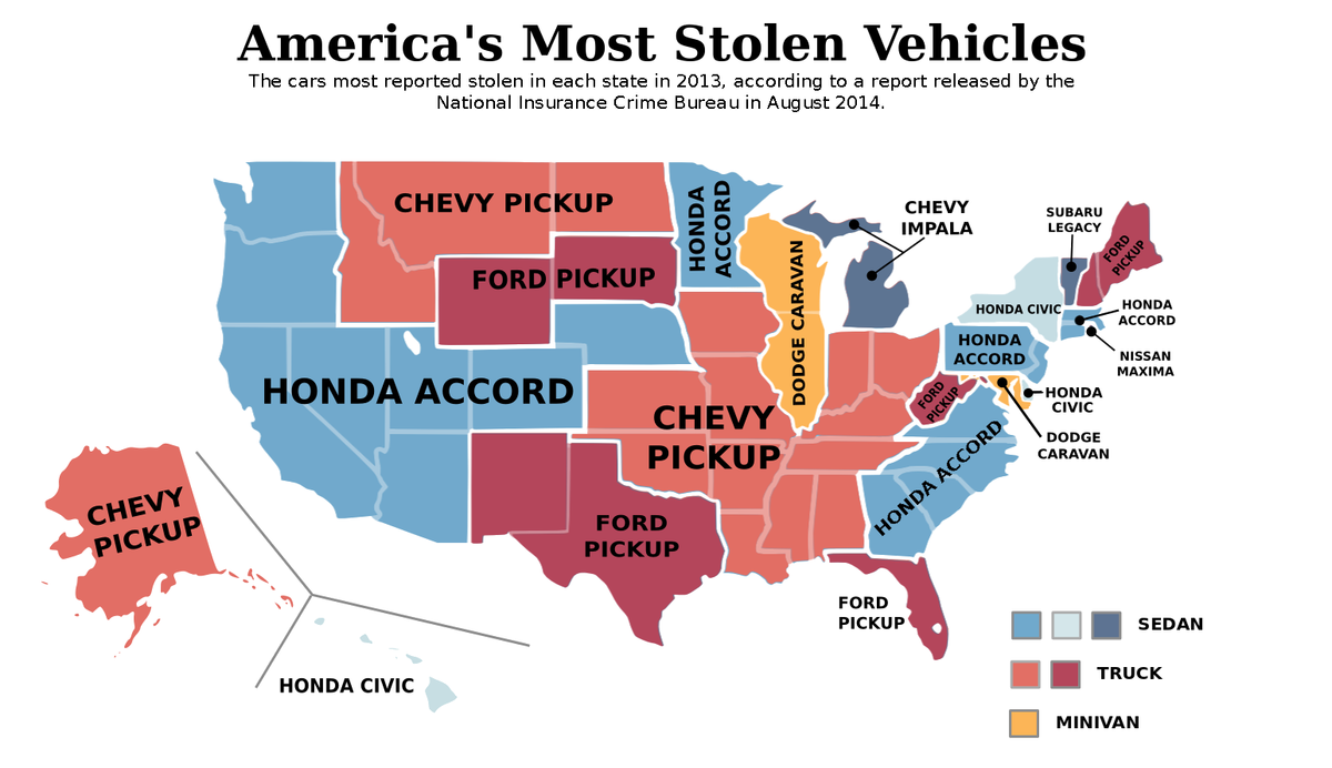 map the most stolen vehicle in every state vox. Black Bedroom Furniture Sets. Home Design Ideas